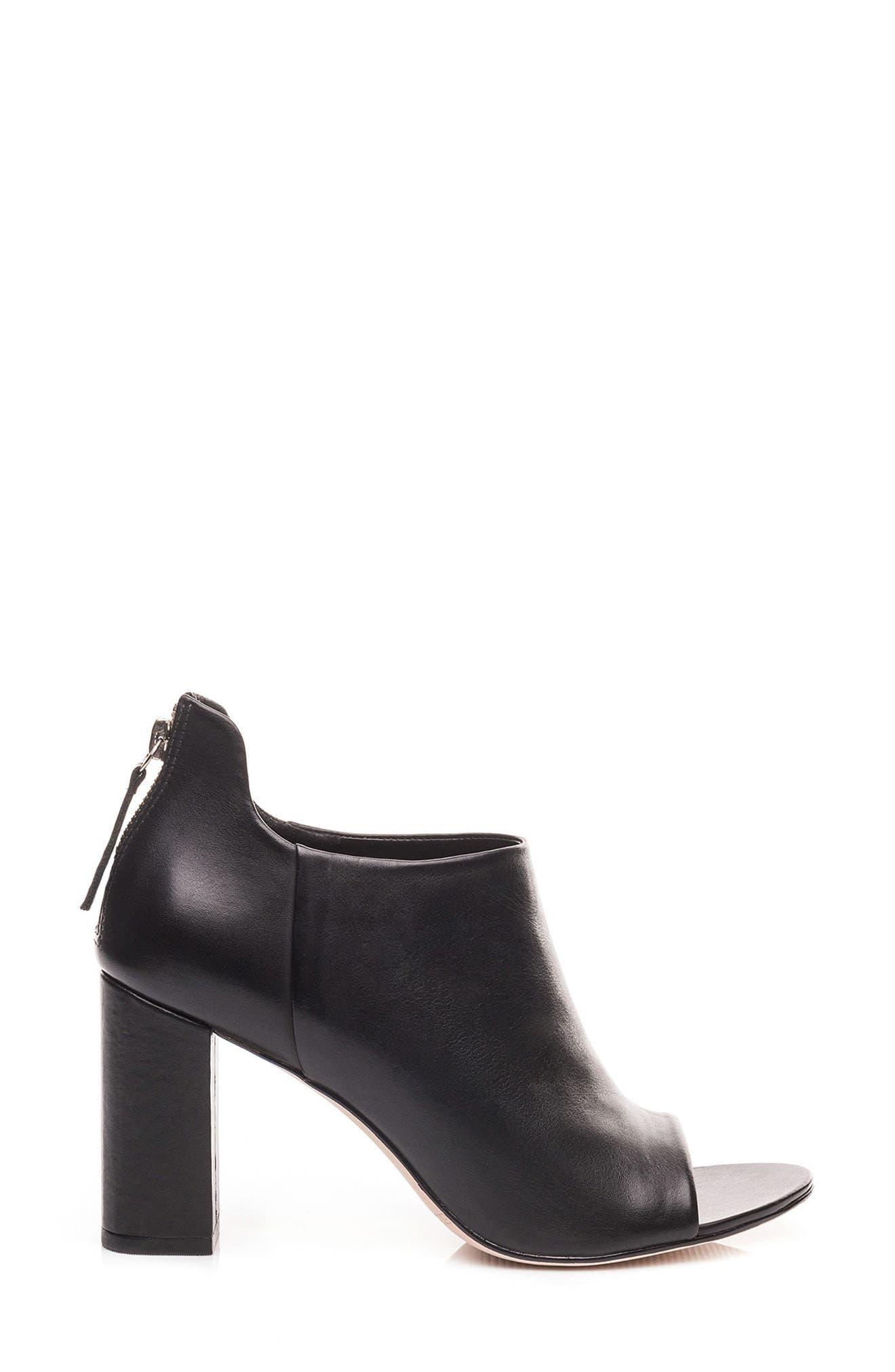Heather Peep Toe Bootie,                             Alternate thumbnail 3, color,                             Black Leather