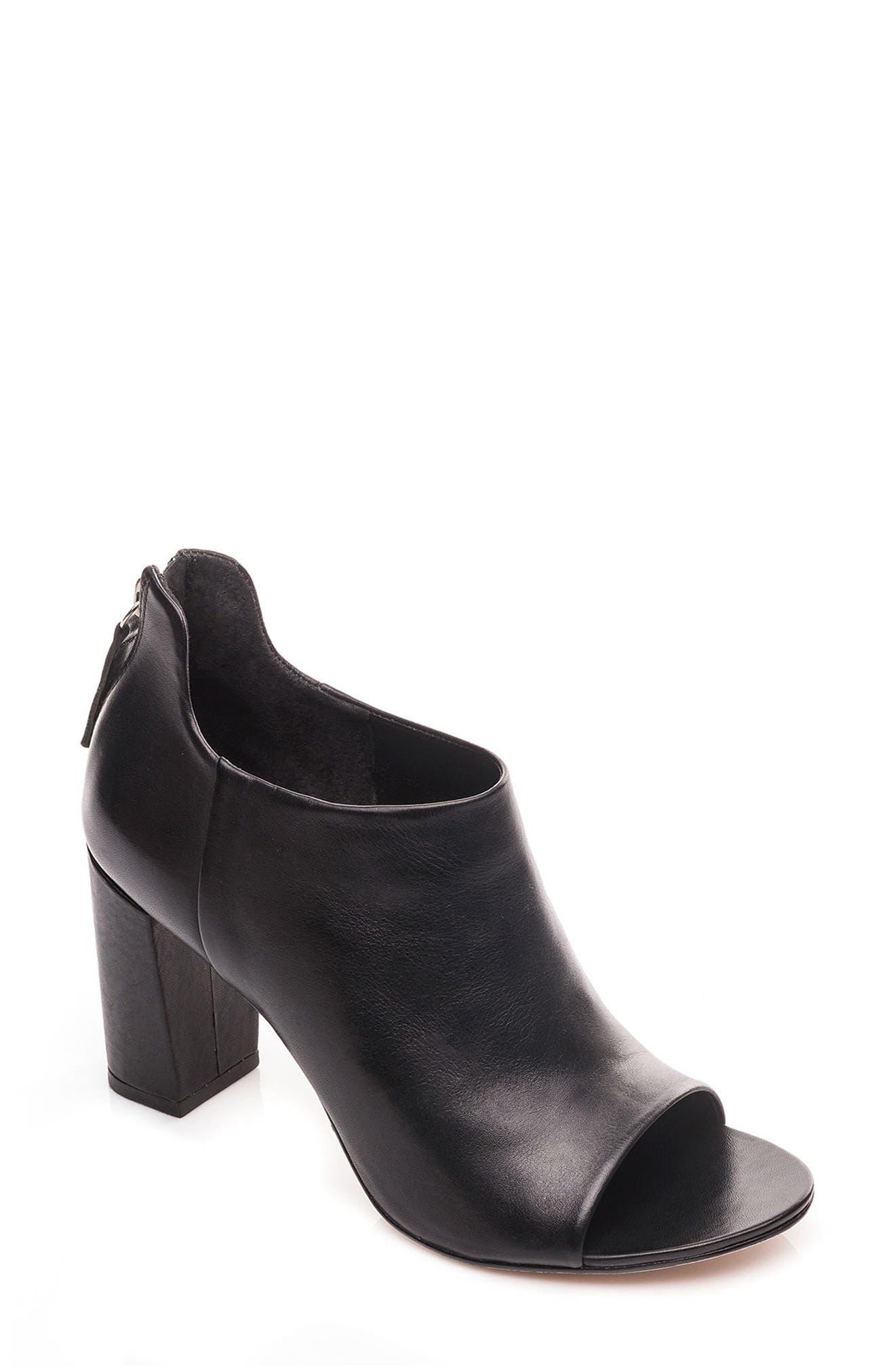Heather Peep Toe Bootie,                             Main thumbnail 1, color,                             Black Leather