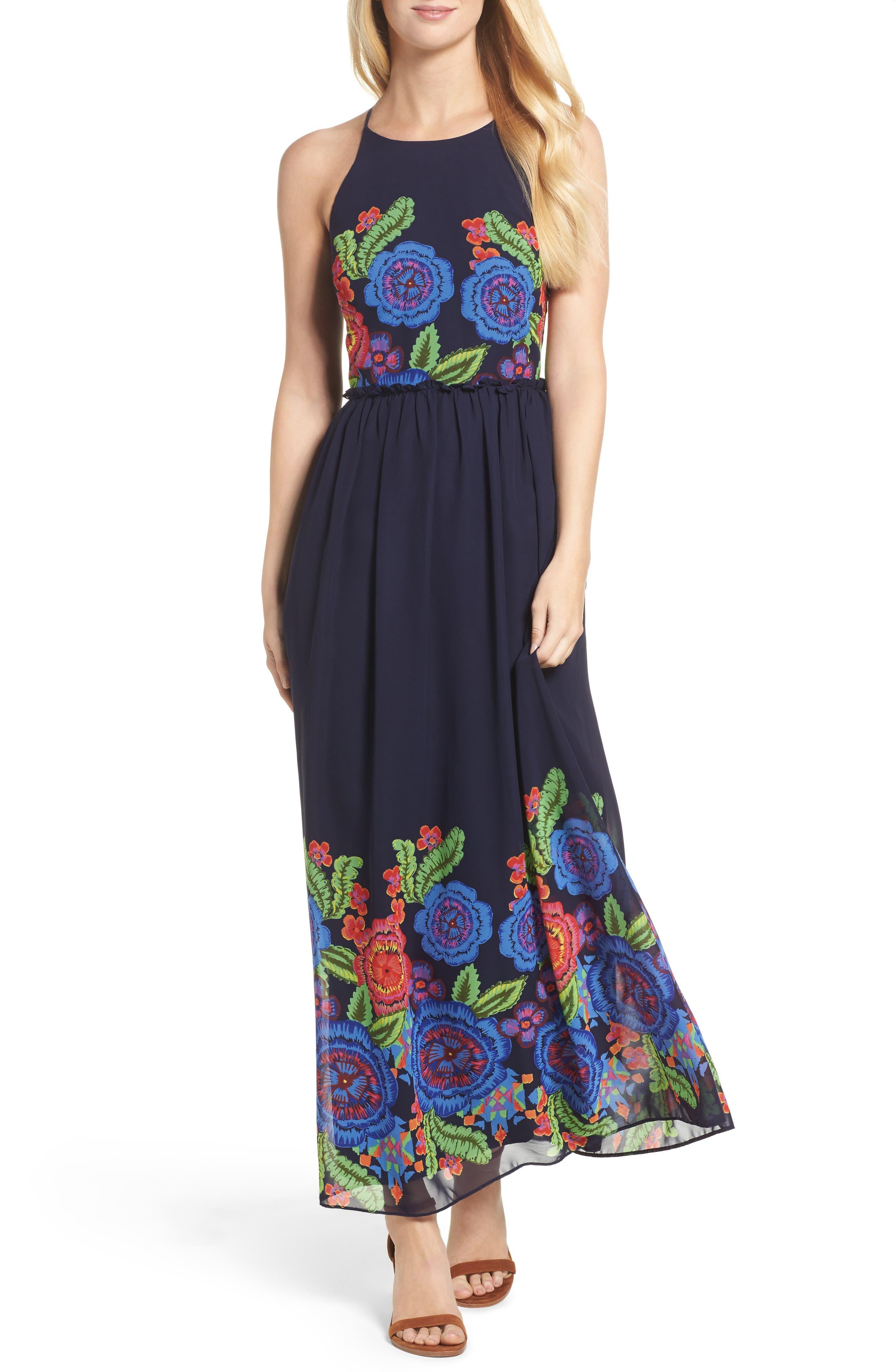 Zinnea Maxi Dress,                         Main,                         color, Navy Multi