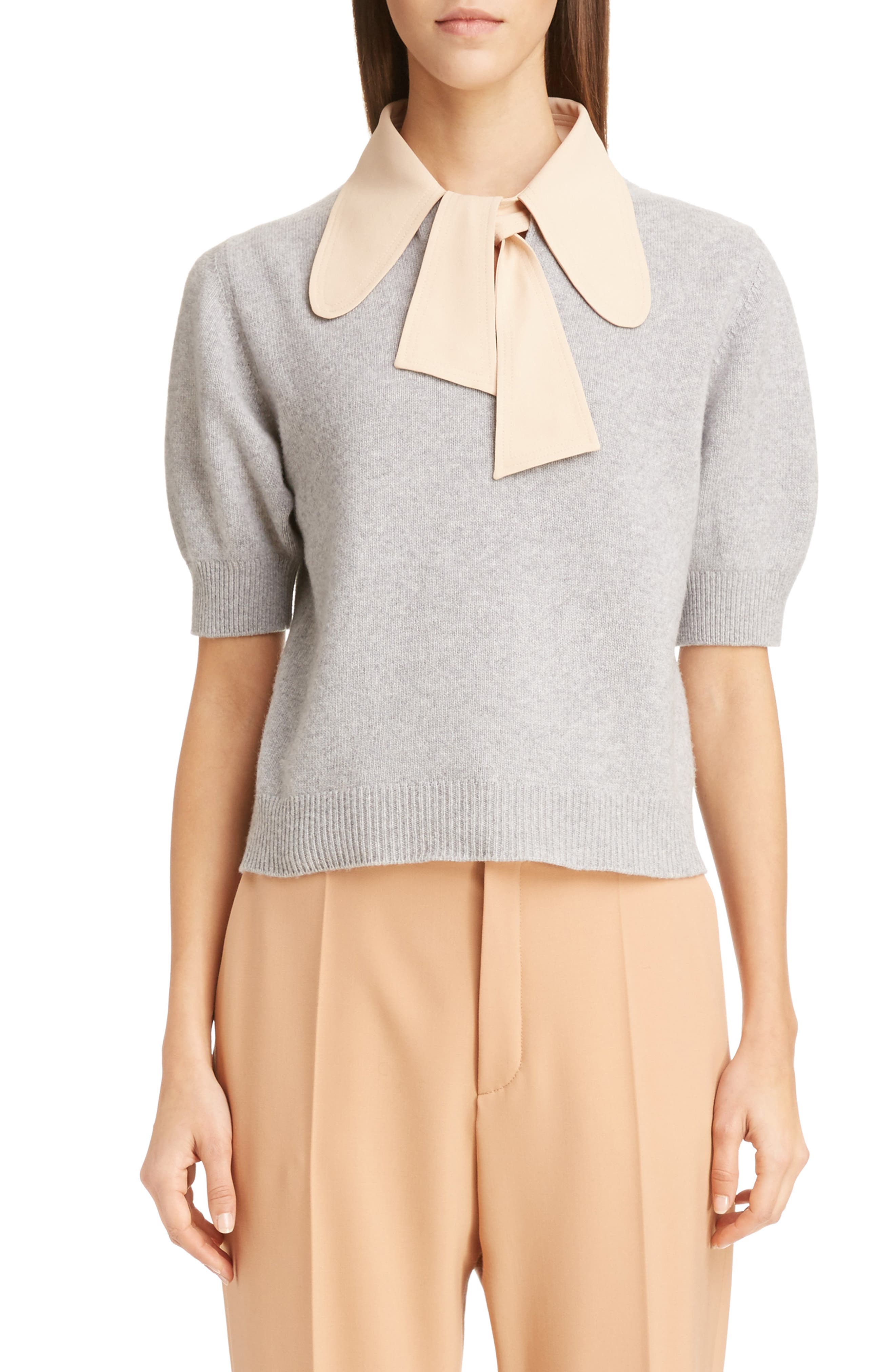 Chloé Wool & Cashmere Sweater with Removable Crepe Tie Collar