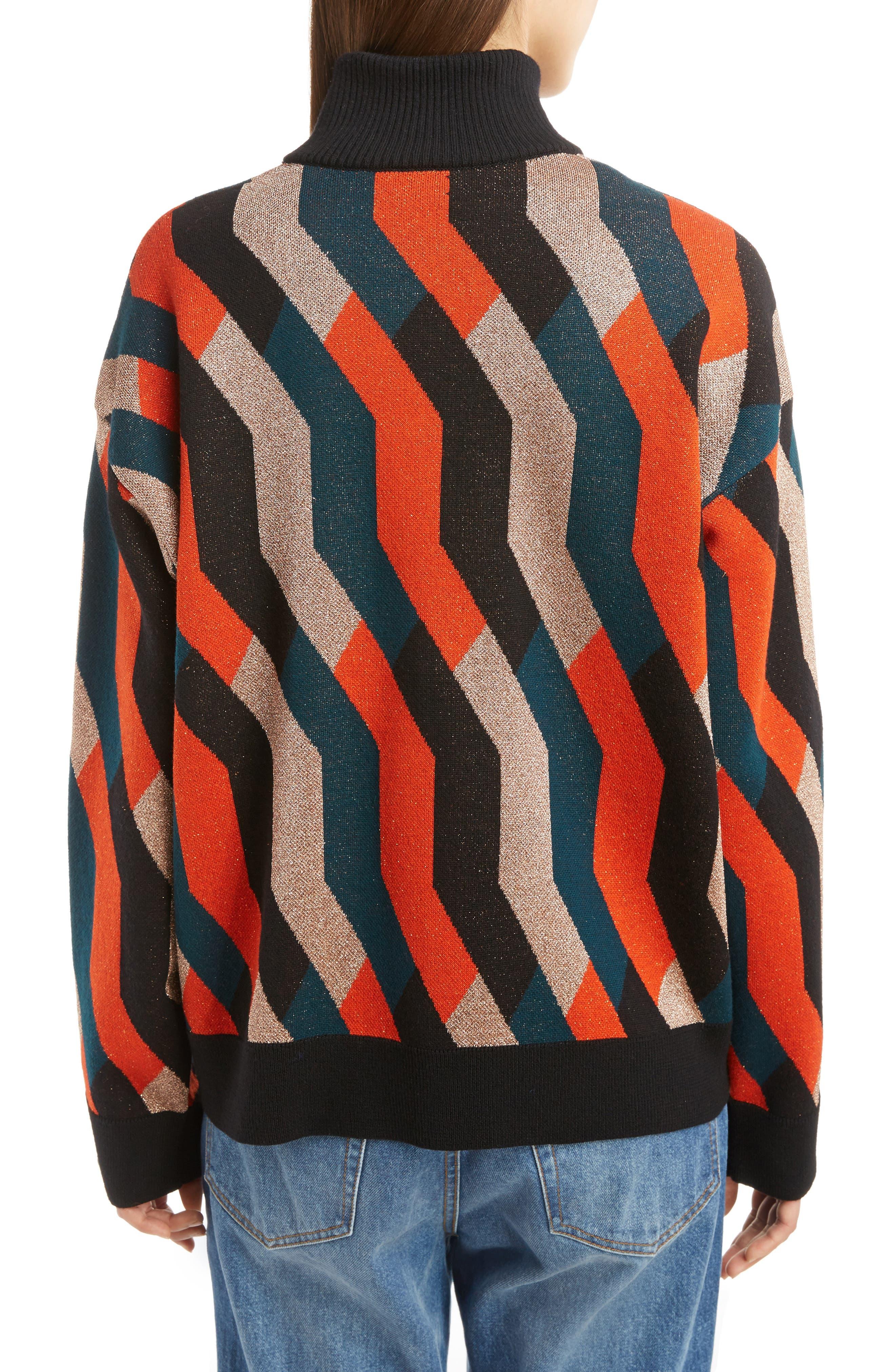 Graphic Knit Merino Wool Cardigan,                             Alternate thumbnail 2, color,                             Skin