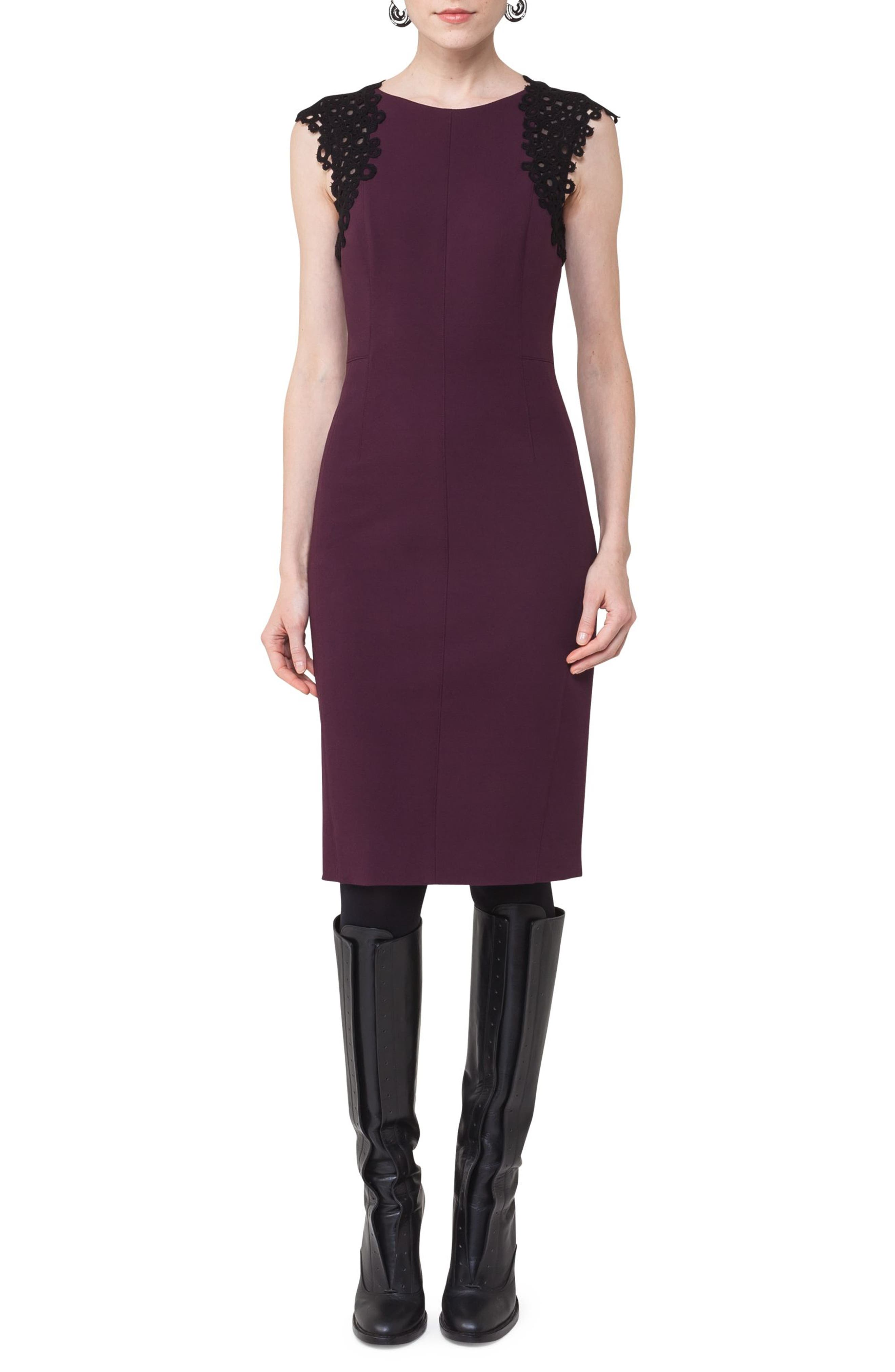 Lace Trim Sheath Dress,                             Main thumbnail 1, color,                             Wine