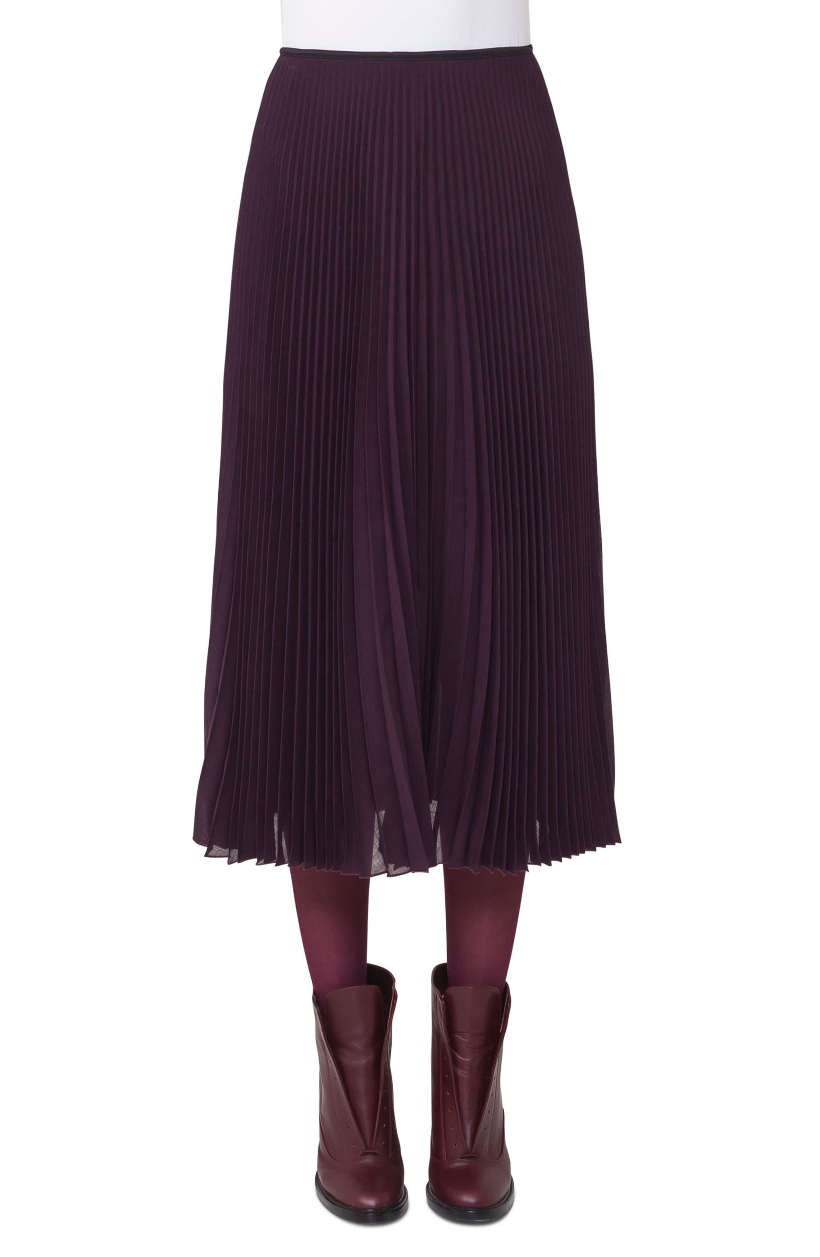 Plissé Midi Skirt,                         Main,                         color, Wine