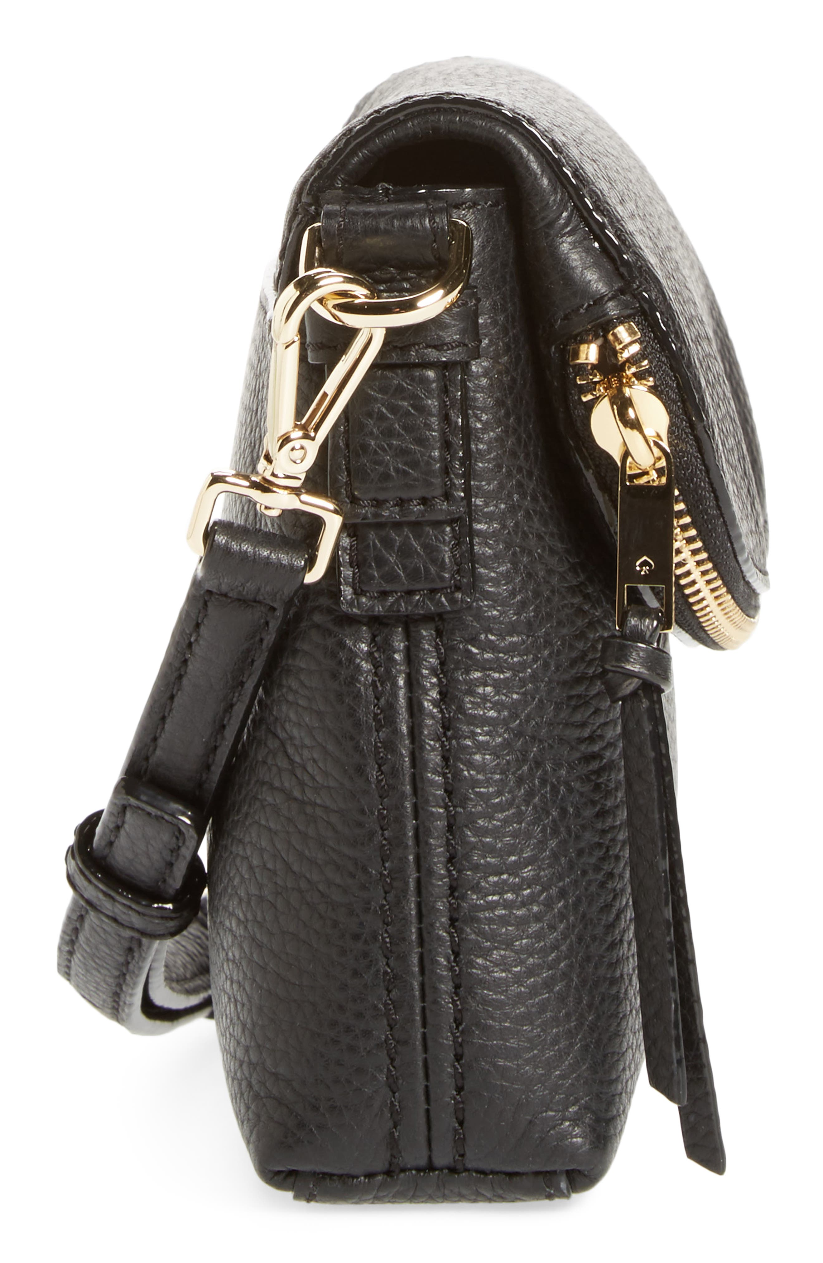 jackson street small harlyn leather crossbody bag,                             Alternate thumbnail 5, color,                             Black