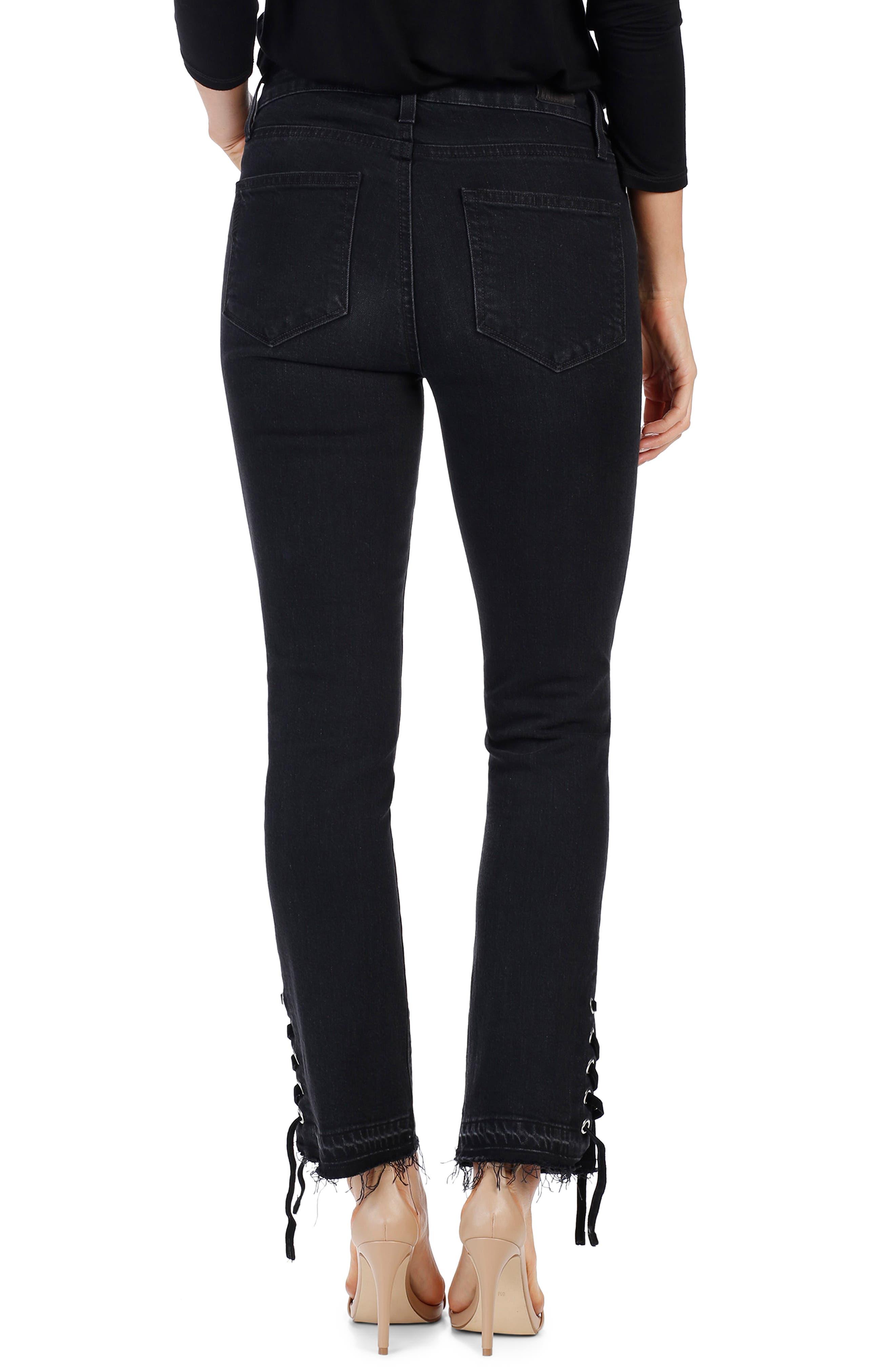 Jacqueline High Waist Straight Leg Jeans,                             Alternate thumbnail 3, color,                             Lacey Noir
