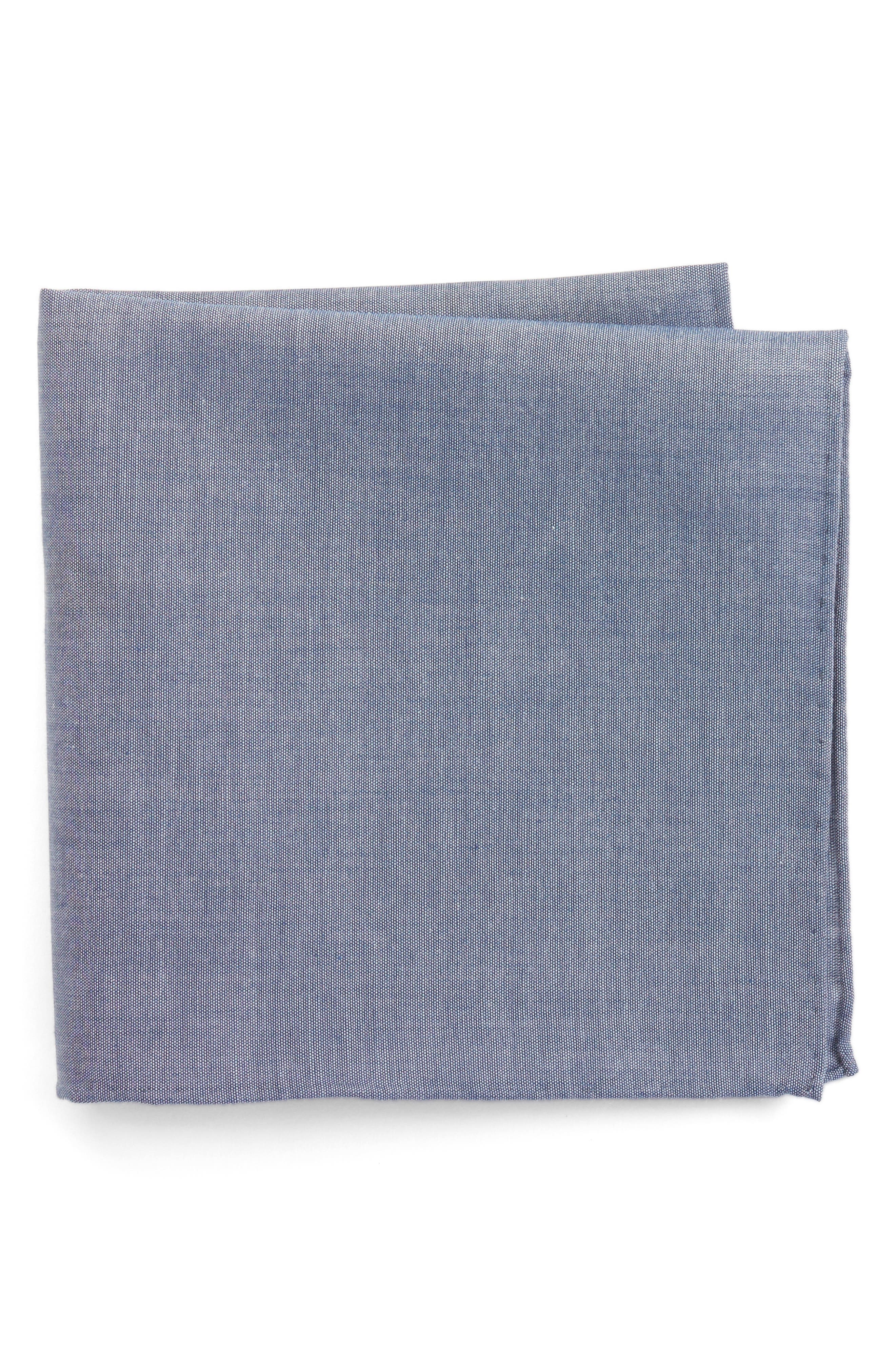 Chambray CottonPocket Square,                         Main,                         color, Warm Blue