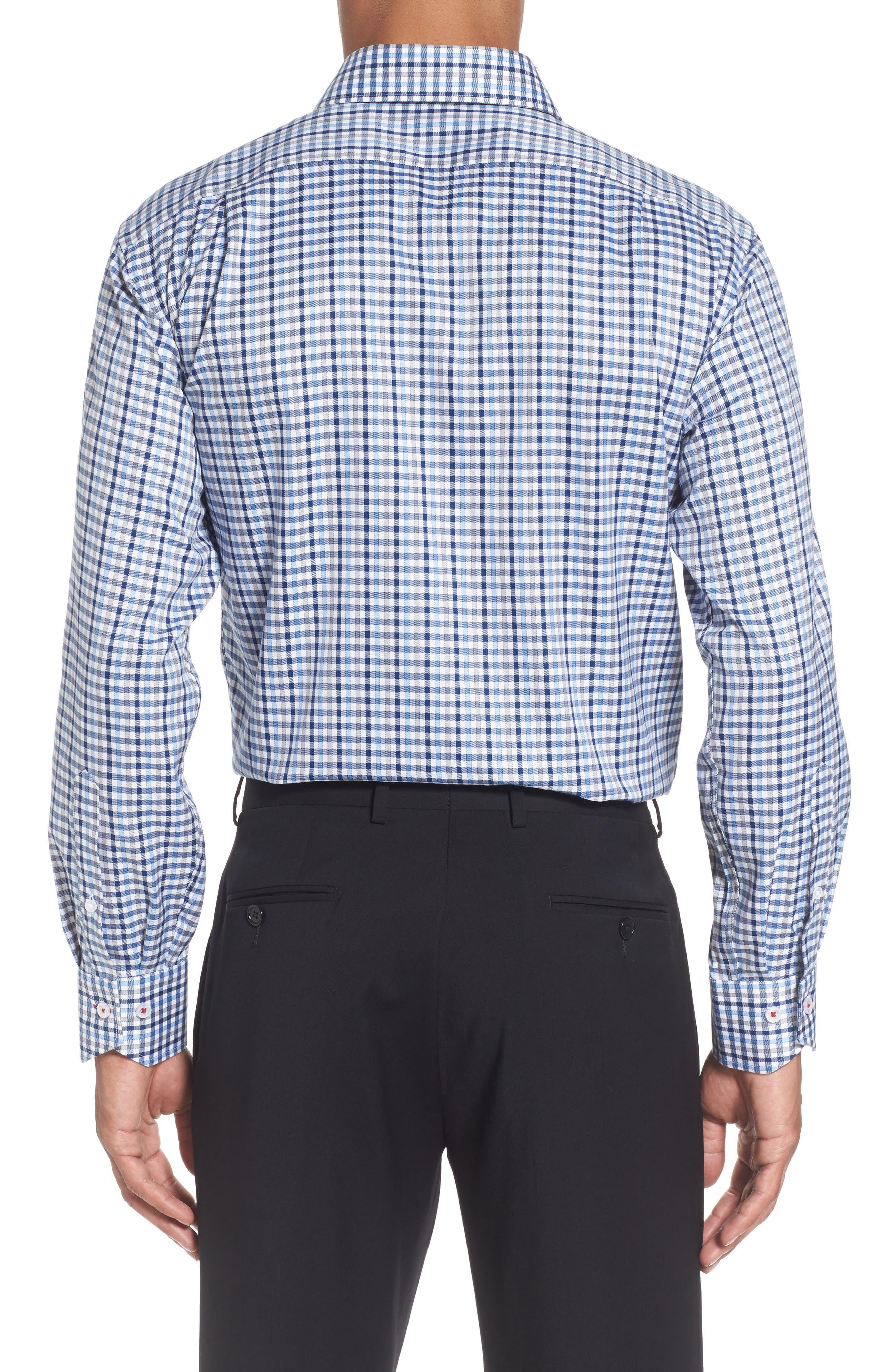 Trim Fit Check Dress Shirt,                             Alternate thumbnail 2, color,                             Dark Blue