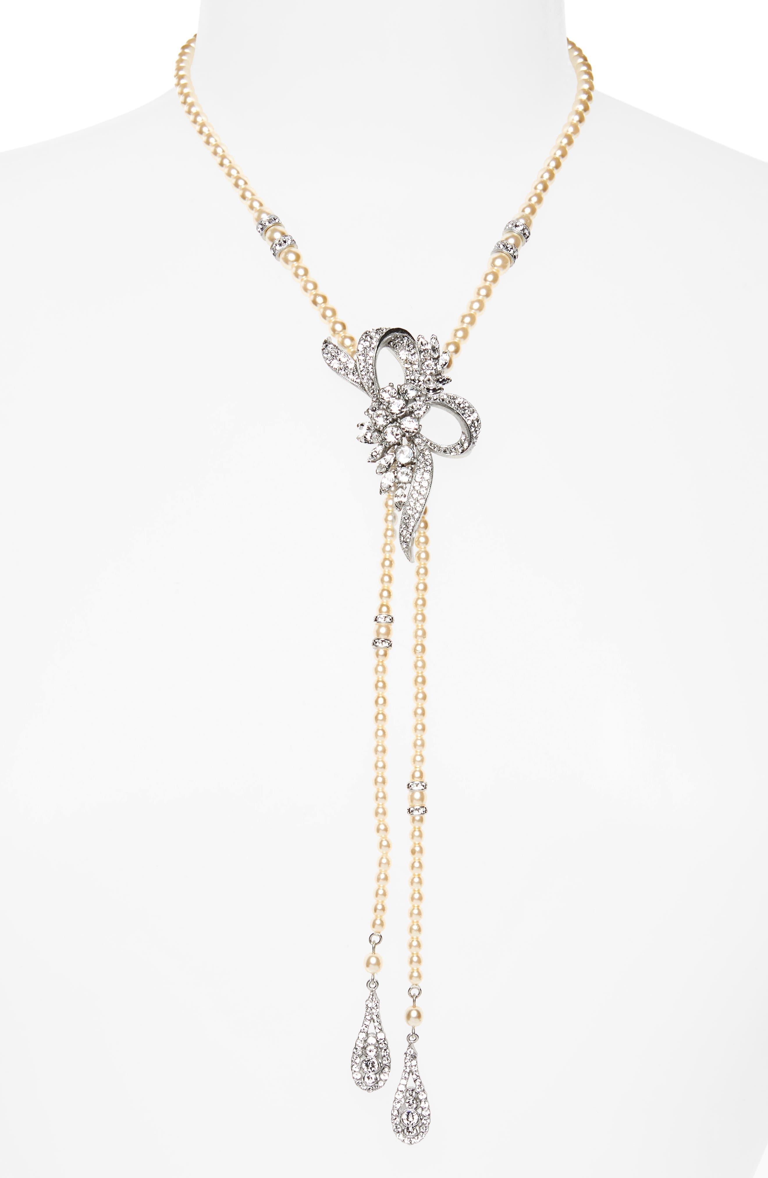 BEN-AMUN Bow Faux Faux Pearl Y-Necklace