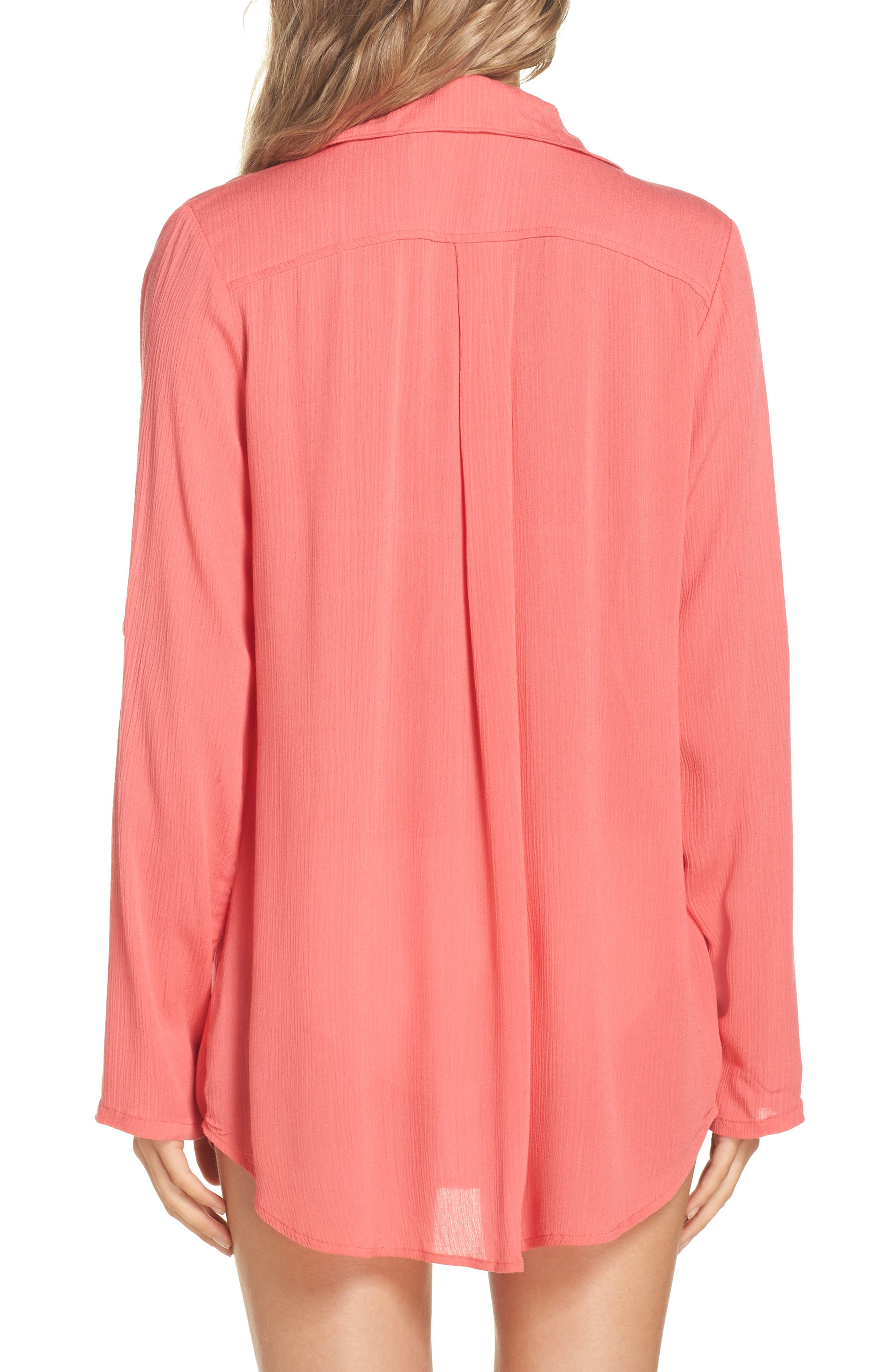 Big Sur Cover-Up Tunic,                             Alternate thumbnail 2, color,                             Coral