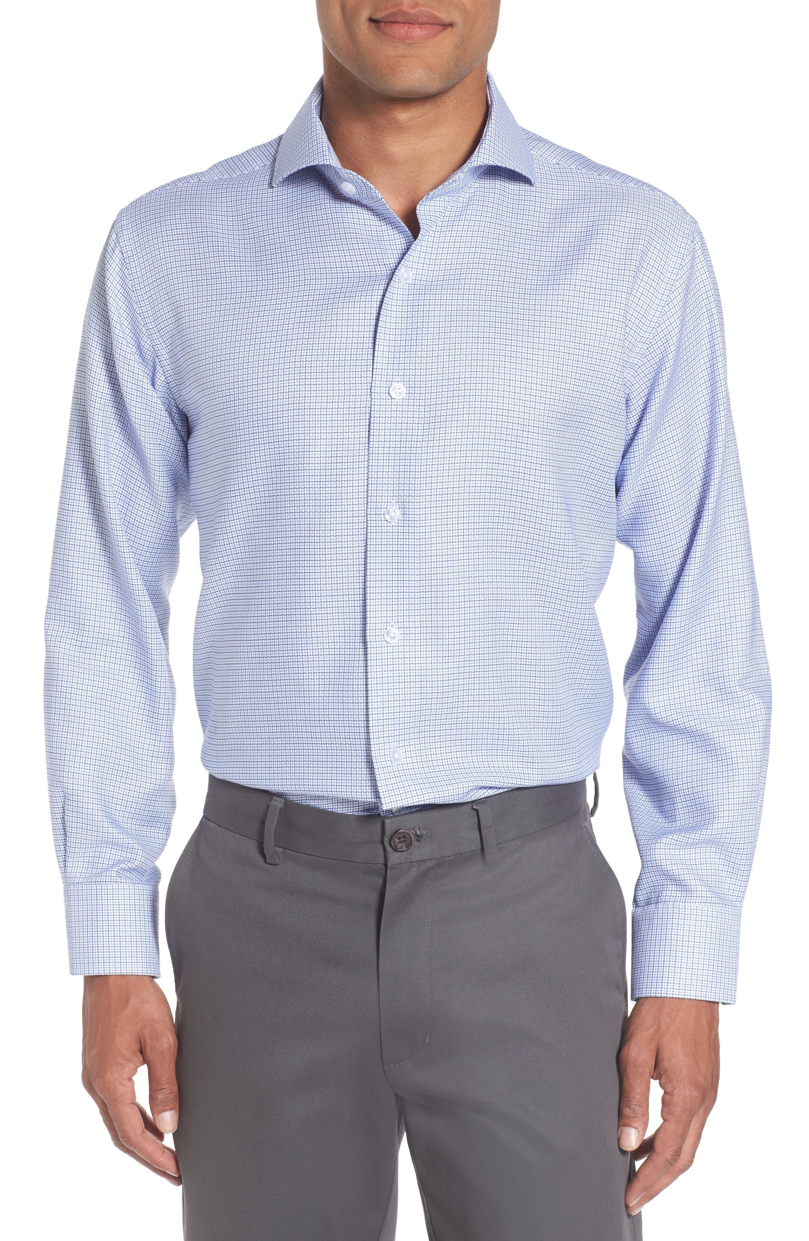 Trim Fit Check Dress Shirt,                         Main,                         color, Light Blue/ Navy