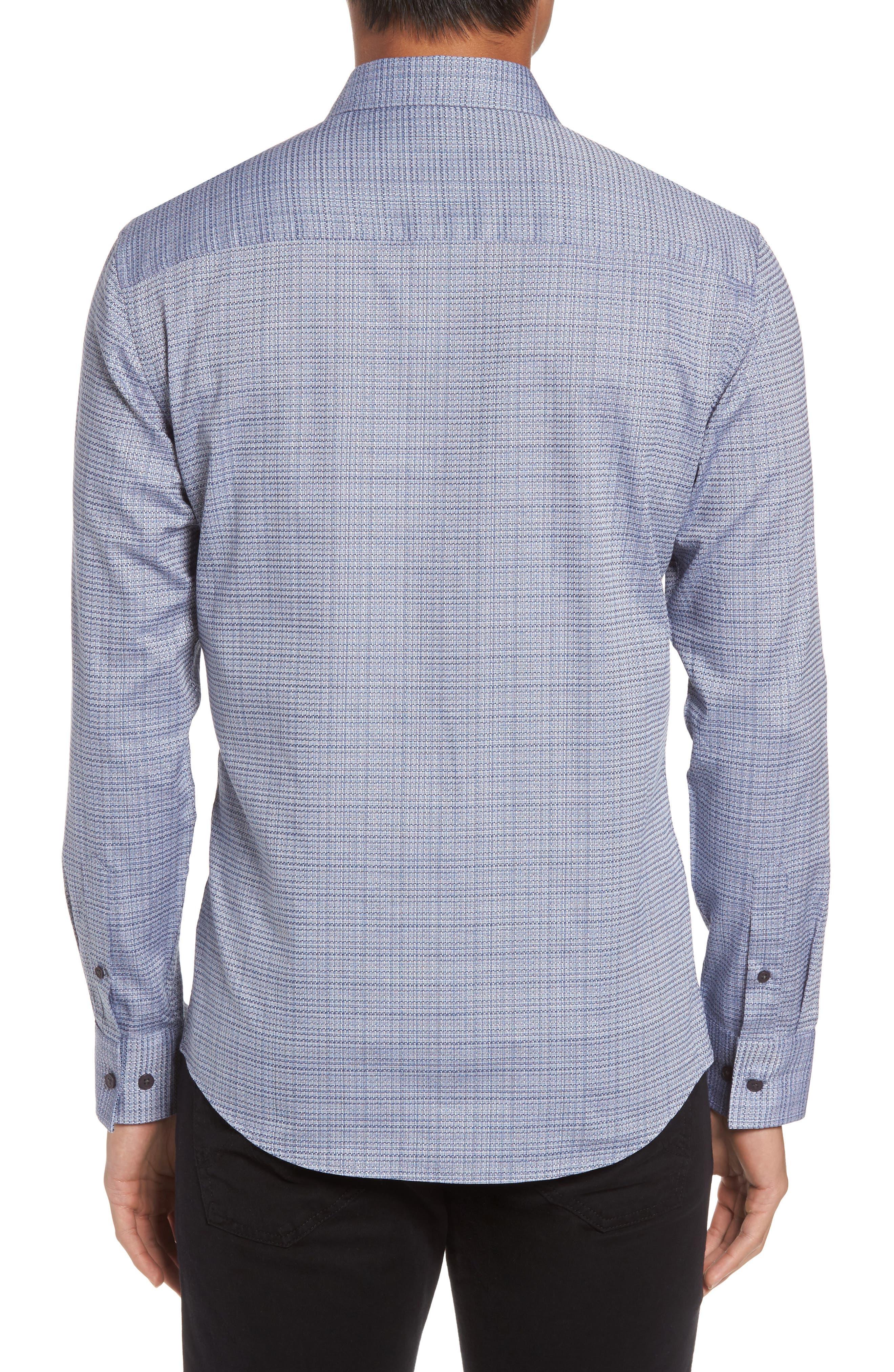 Trim Fit Print Hacking Pocket Sport Shirt,                             Alternate thumbnail 2, color,                             Navy/ White Dobby