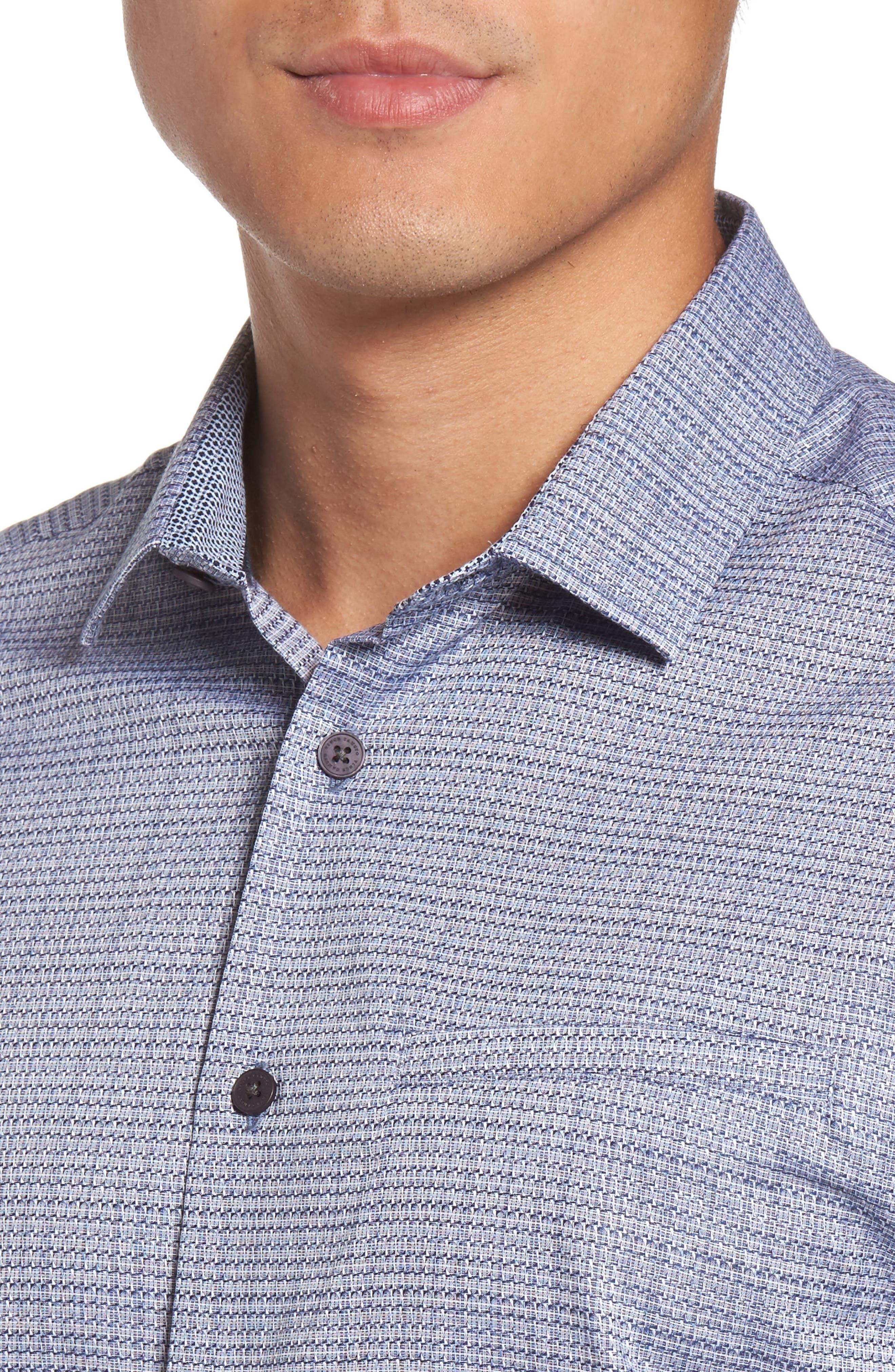 Trim Fit Print Hacking Pocket Sport Shirt,                             Alternate thumbnail 4, color,                             Navy/ White Dobby