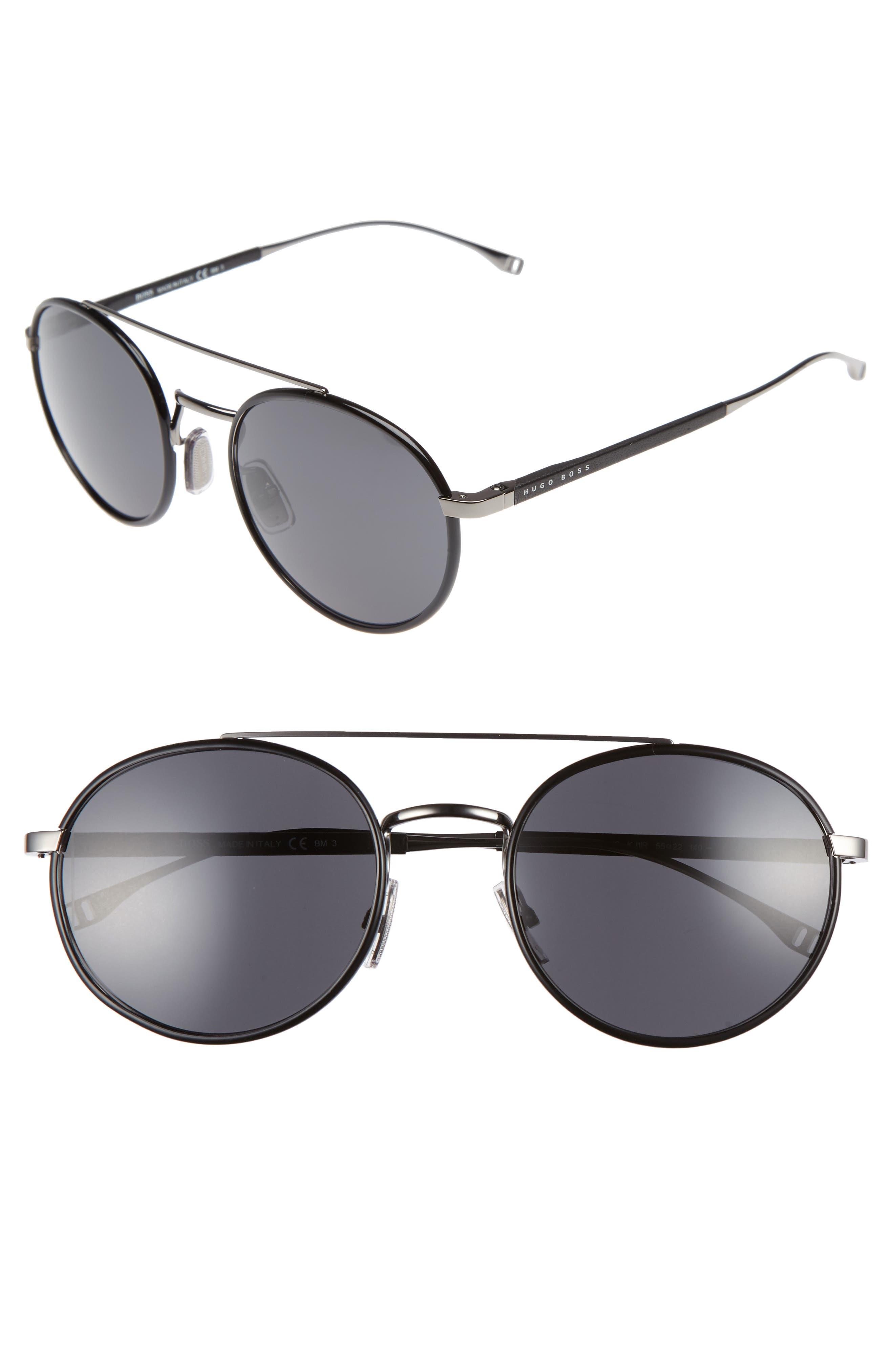 BOSS 55mm Round Sunglasses