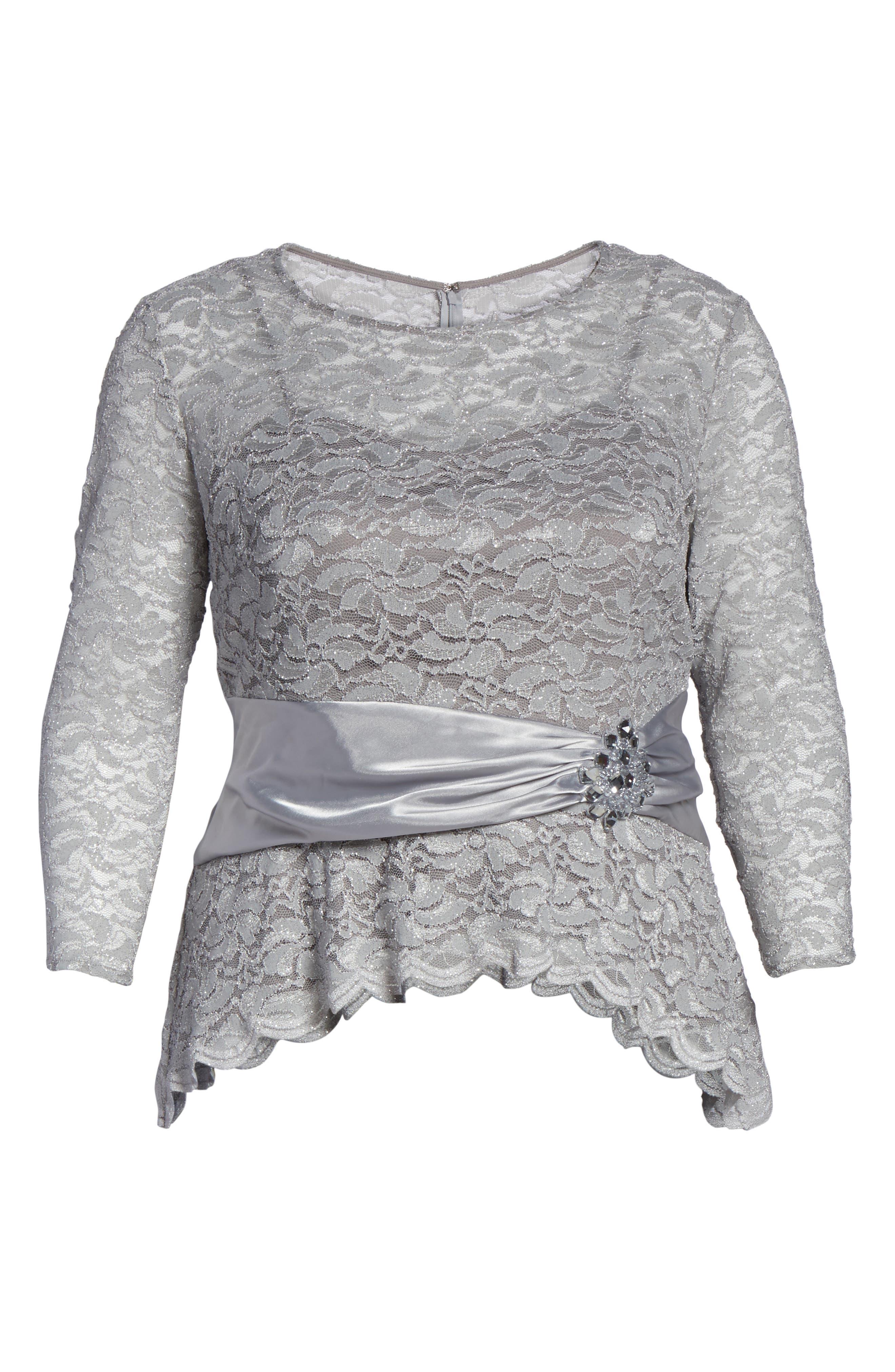 Alternate Image 6  - Alex Evenings Ruched Waist Lace Blouse (Plus Size)