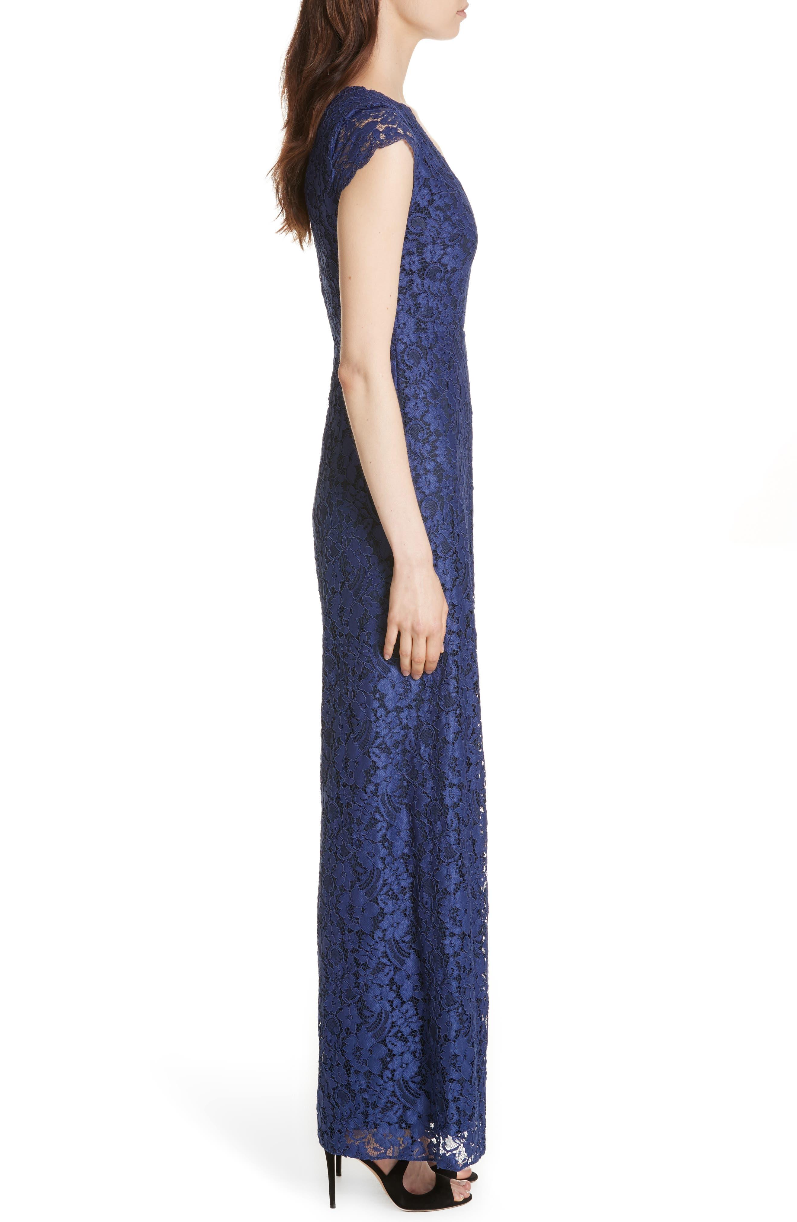 Mariam Lace Jumpsuit,                             Alternate thumbnail 3, color,                             Sapphire