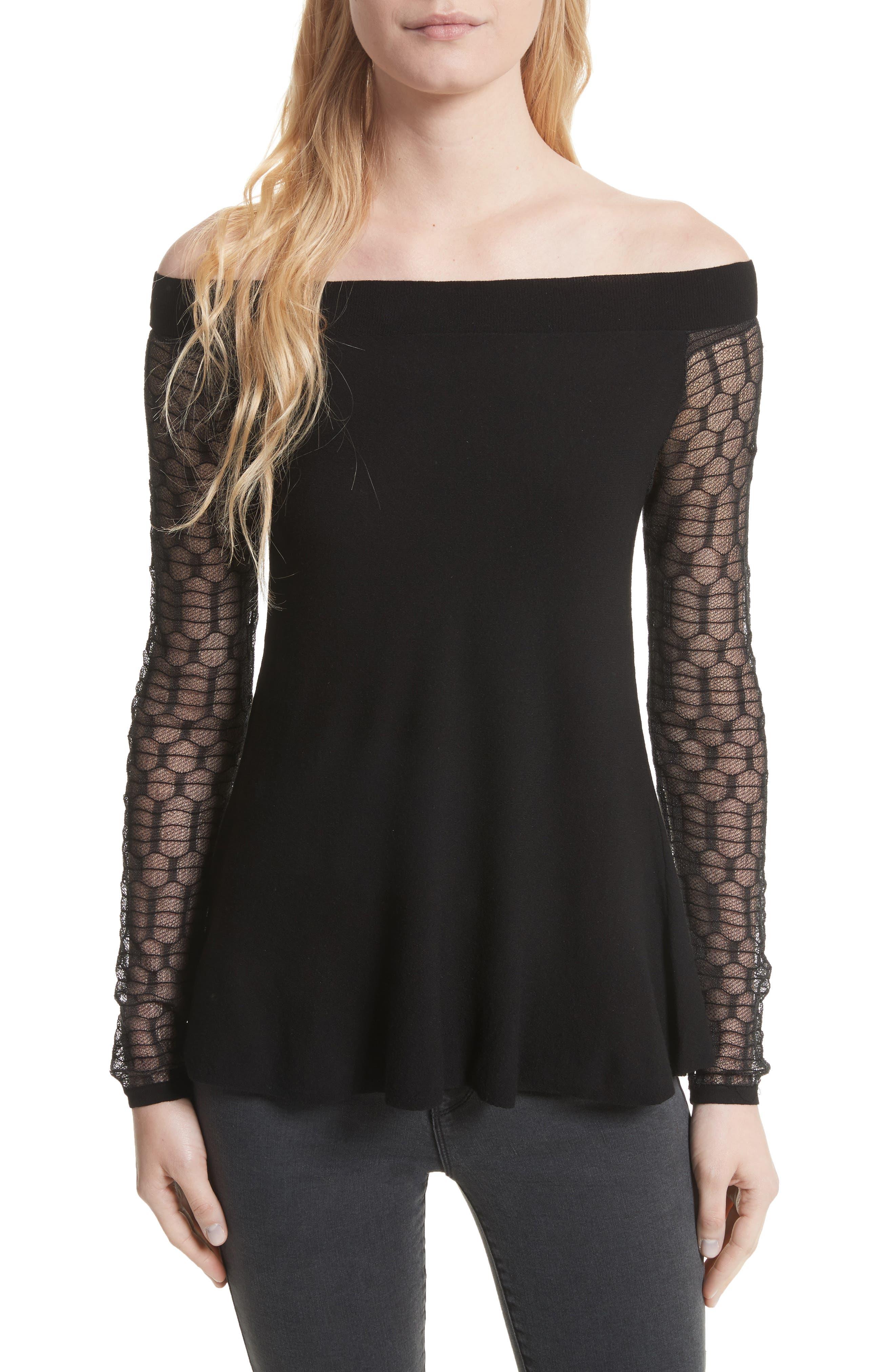 Amaya Off the Shoulder Sweater,                         Main,                         color, Black