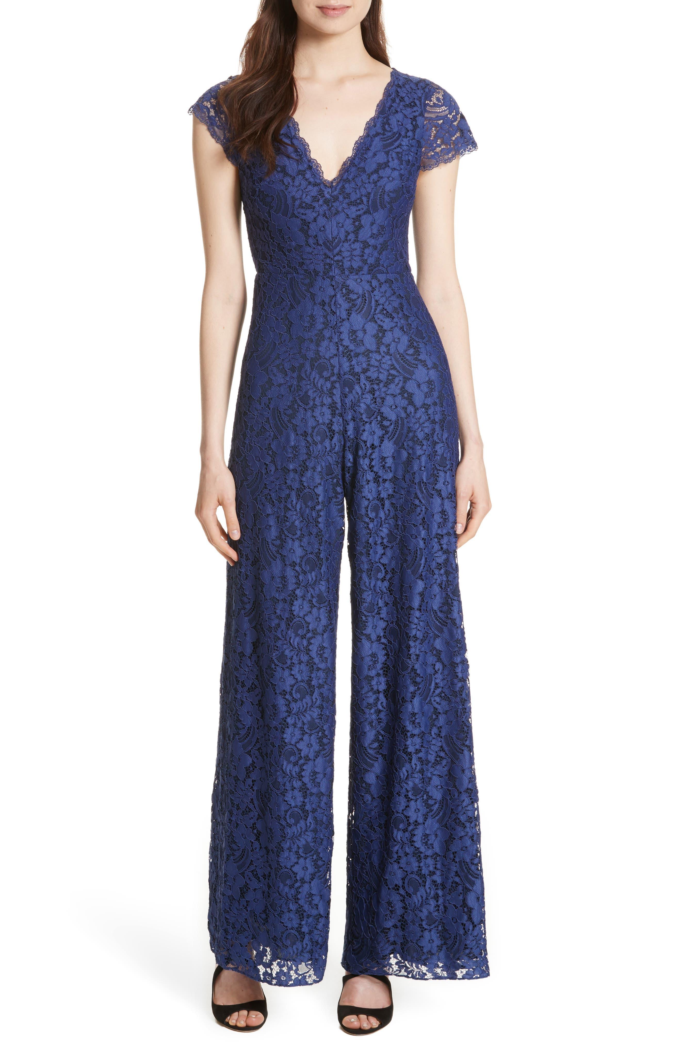 Mariam Lace Jumpsuit,                         Main,                         color, Sapphire