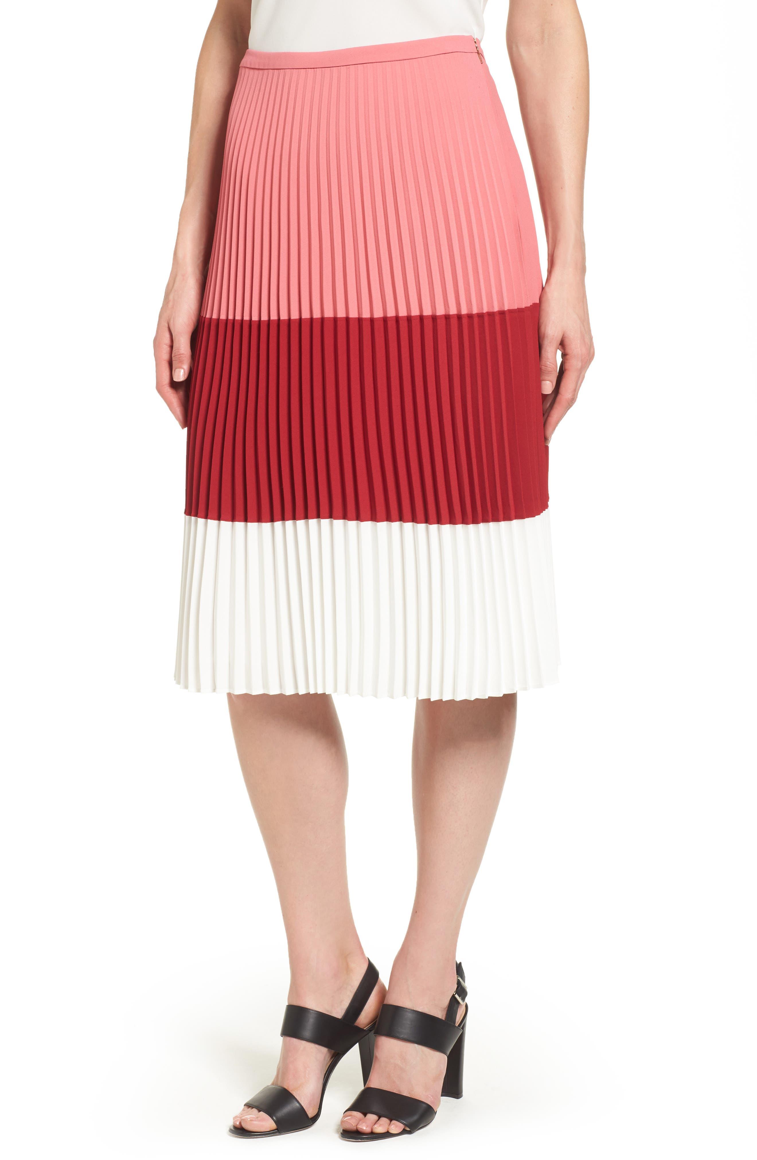 BOSS Visena Colorblock Pleat Skirt