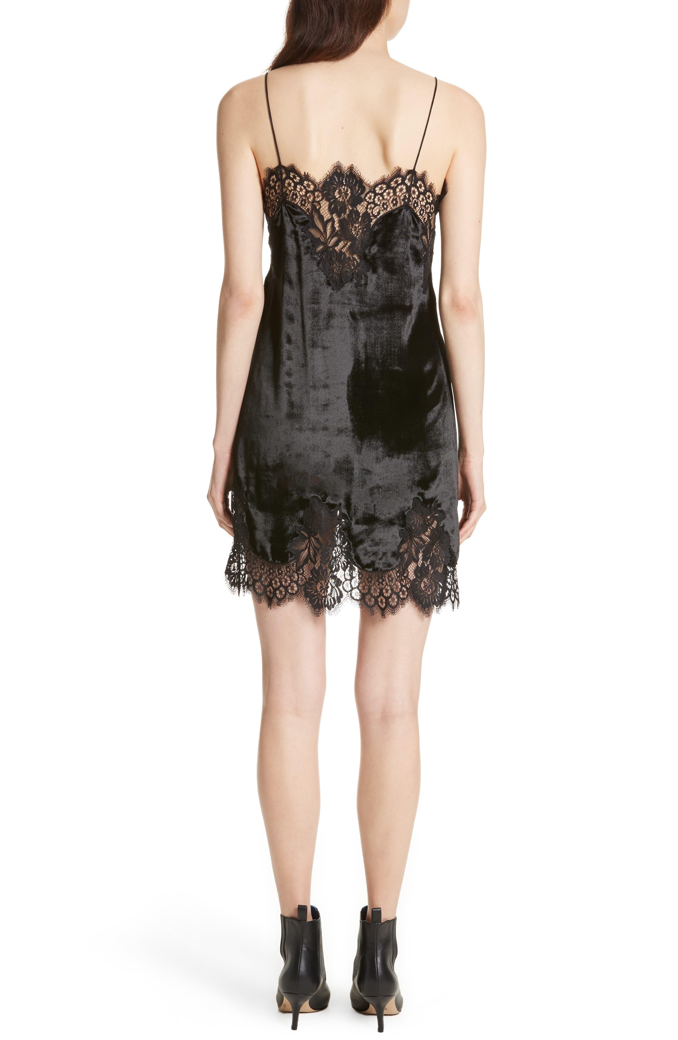 Alternate Image 2  - Alice + Olivia Charice Lace Trim Velvet Slipdress