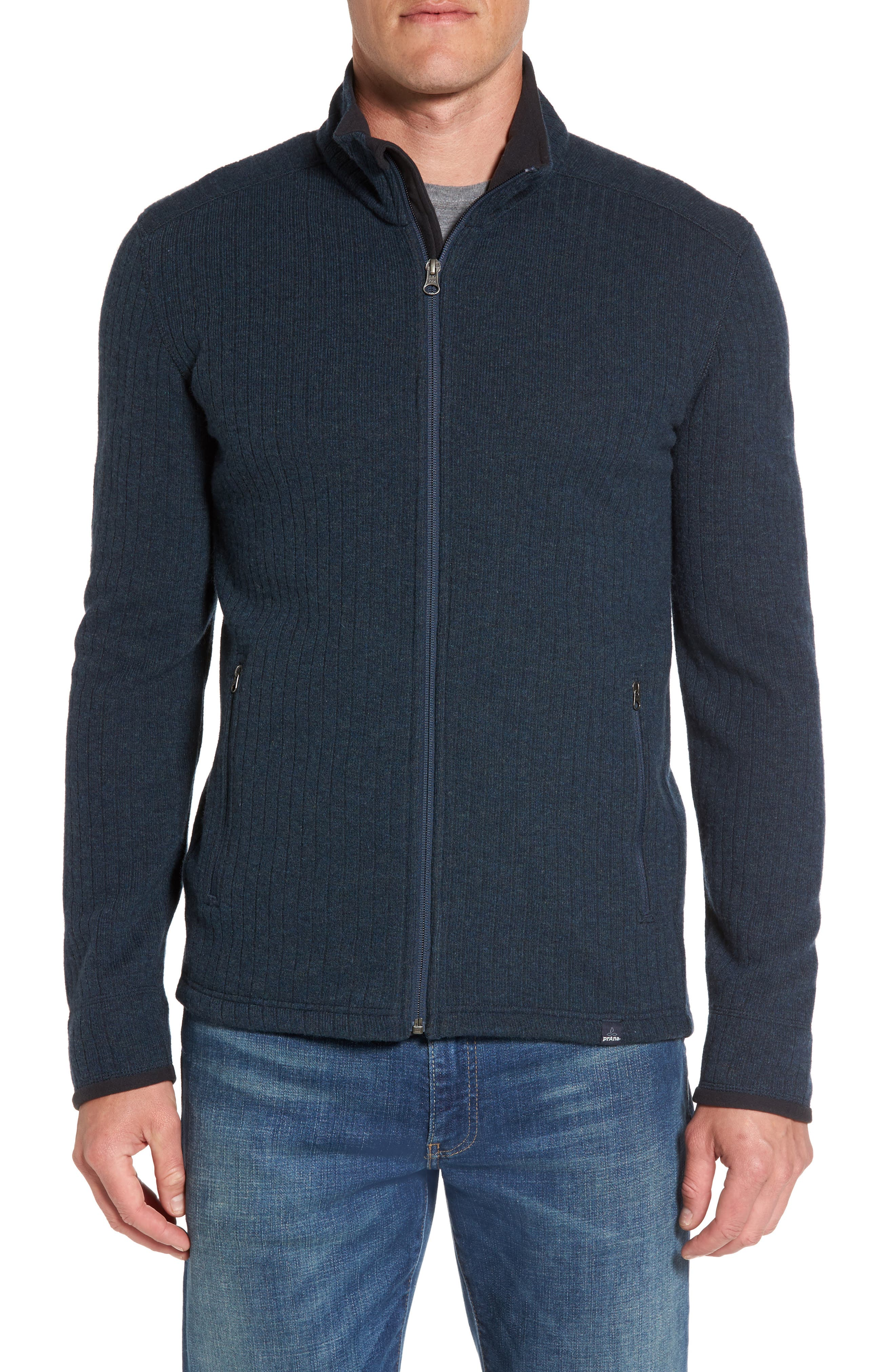 prAna 'Barclay' Full Zip Rib Knit Sweater