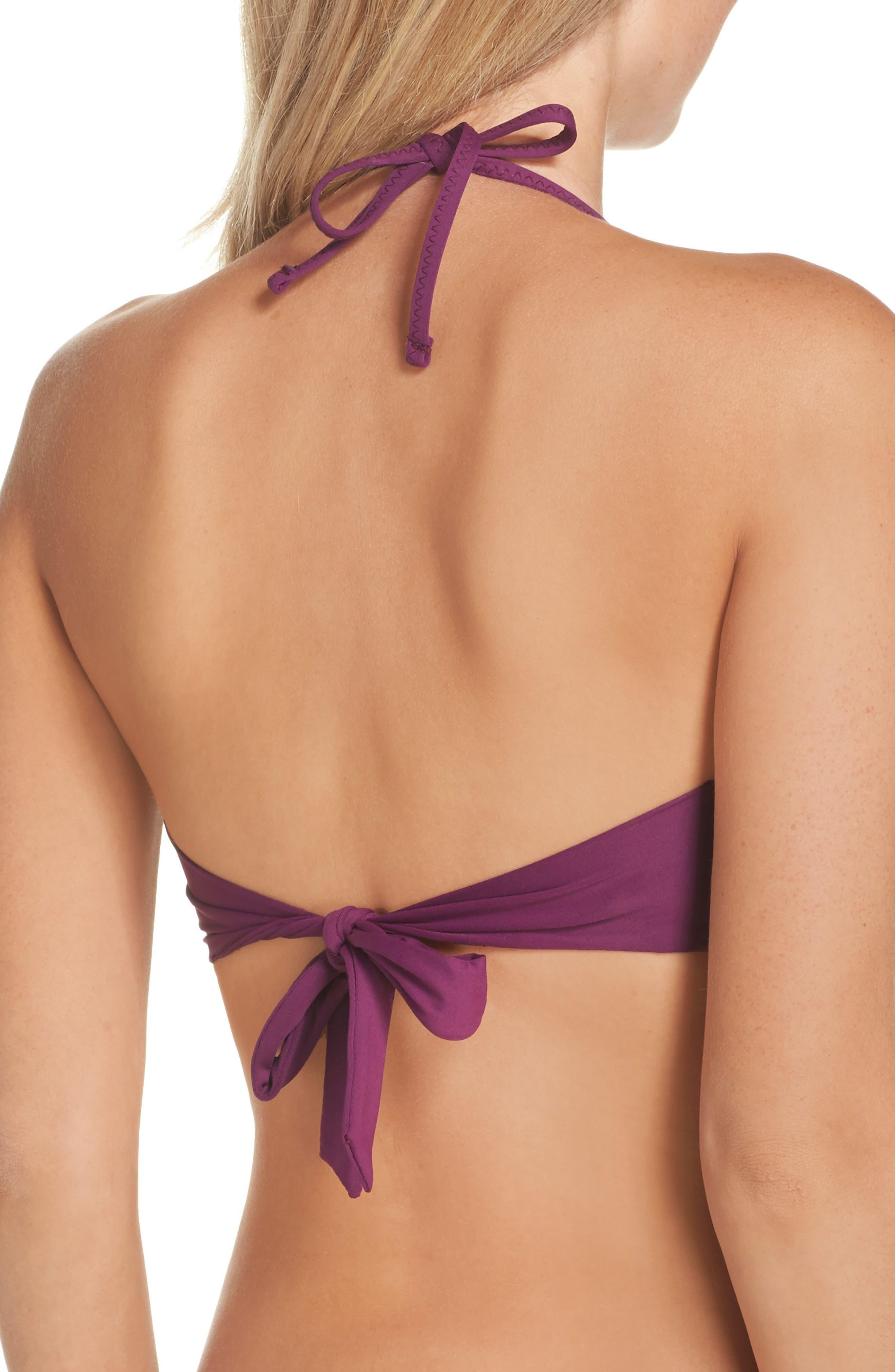 No Strings Attached Bikini Top,                             Alternate thumbnail 2, color,                             Raisin