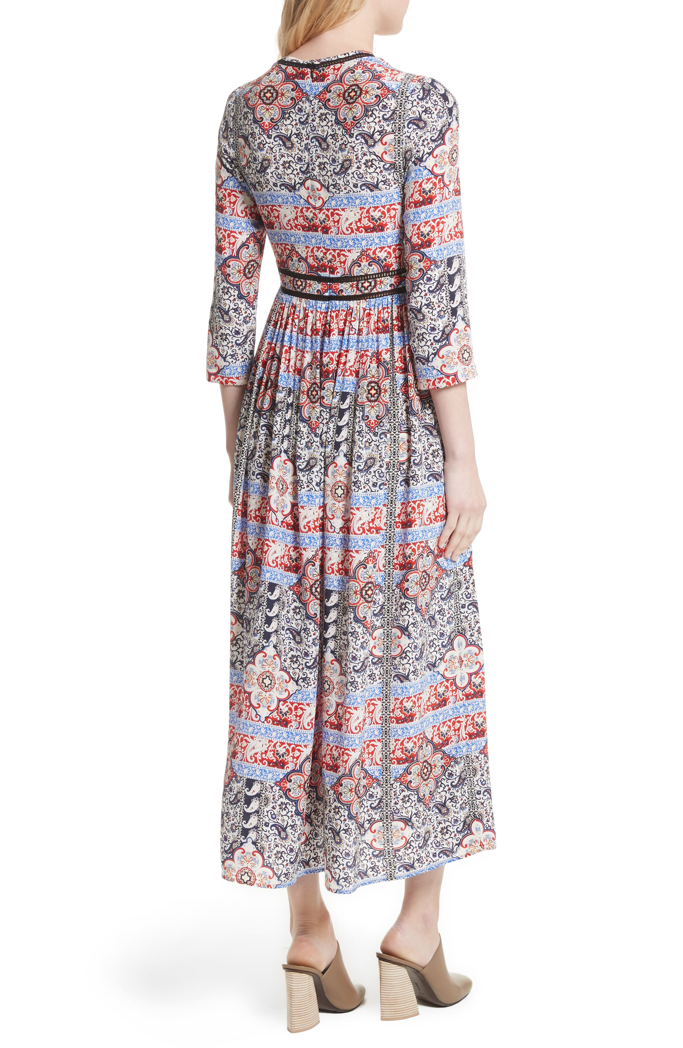 Rosalia Print Silk Maxi Dress,                             Alternate thumbnail 3, color,                             Ivory Multi