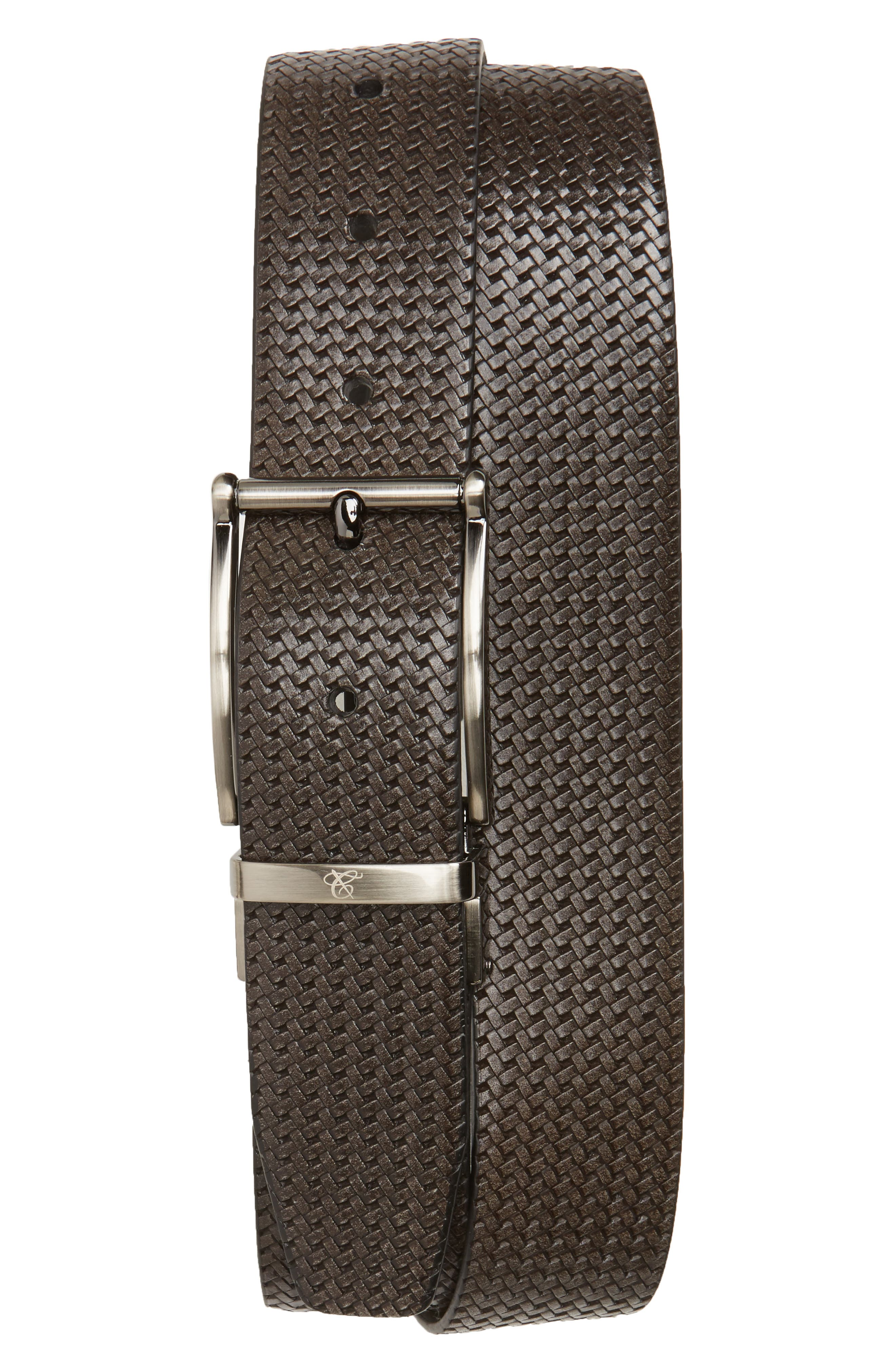 Reversible Leather Belt,                             Main thumbnail 1, color,                             Grey