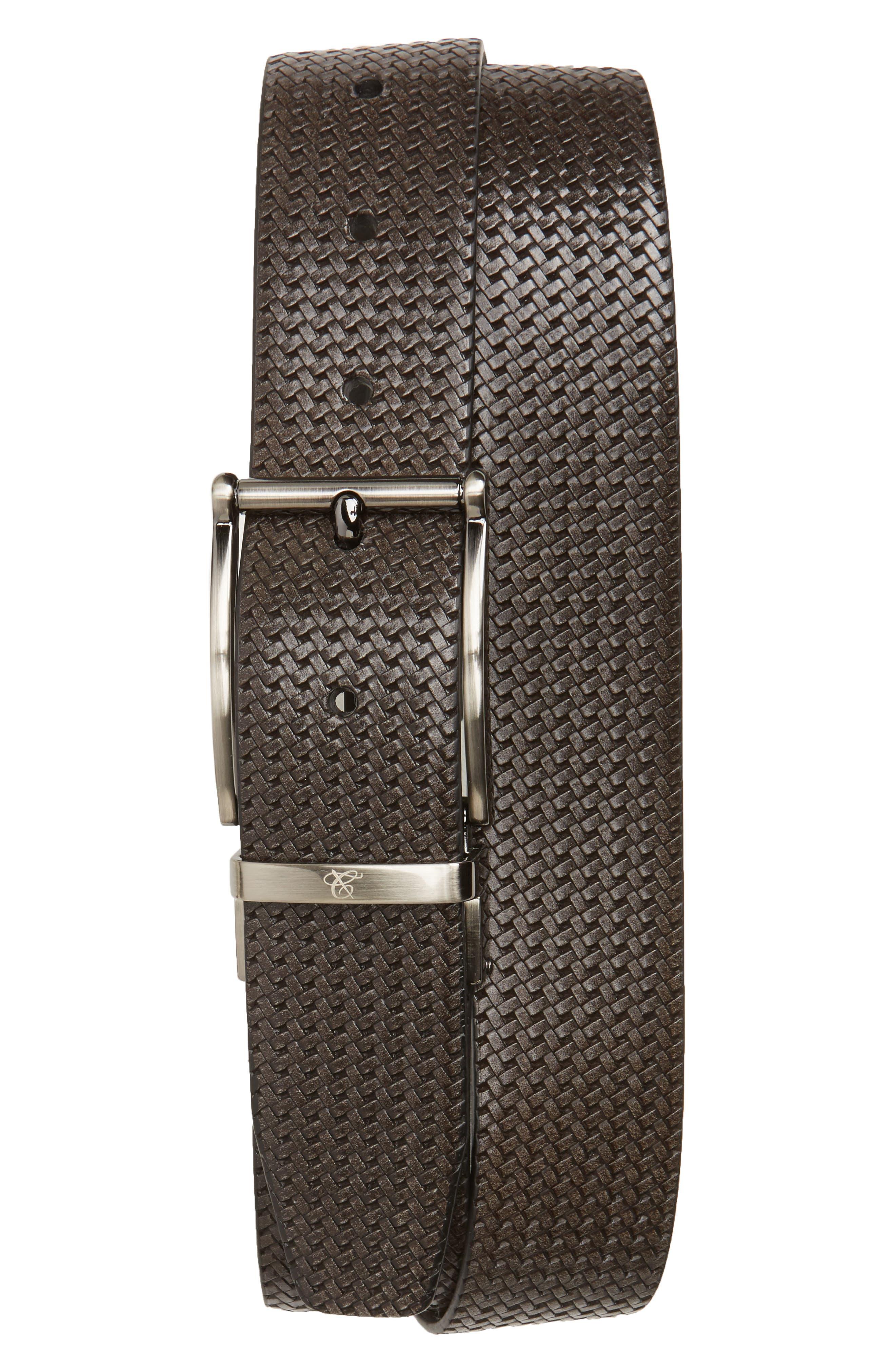 Reversible Leather Belt,                         Main,                         color, Grey