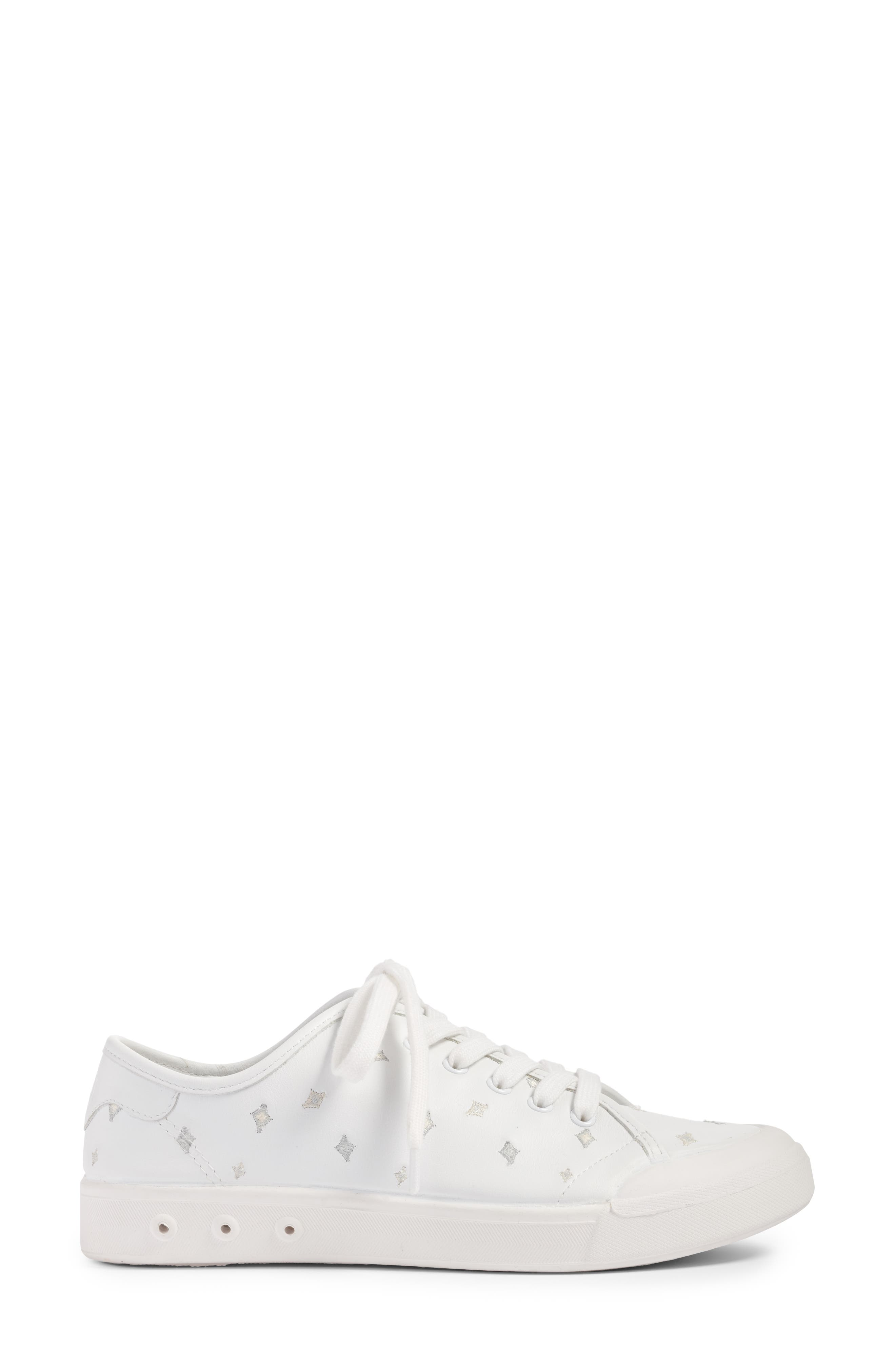 Embroidered Standard Issue Sneaker,                             Alternate thumbnail 3, color,                             White Leather Embroidery
