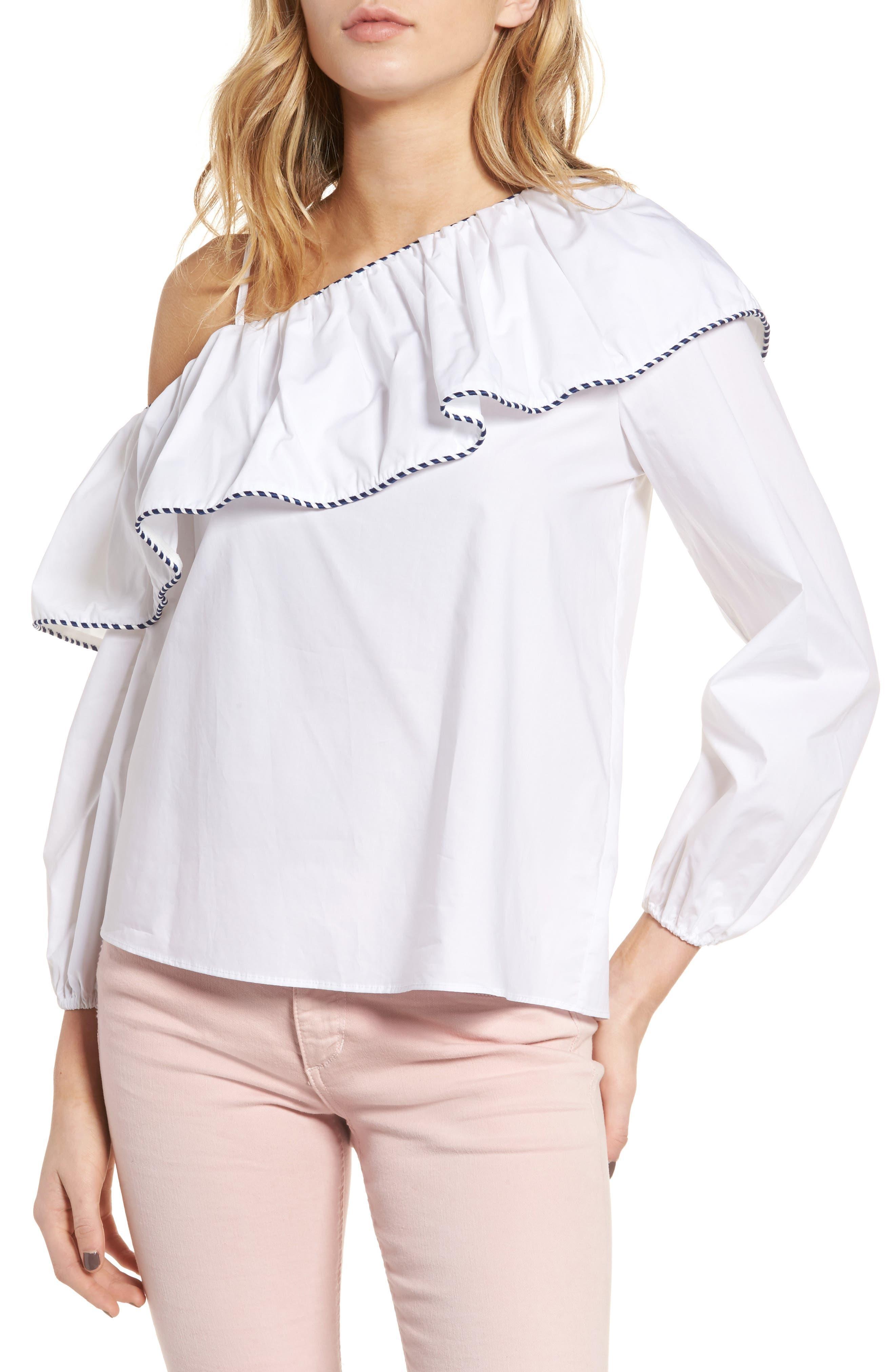 PARKER Kammi Ruffle One-Shoulder Blouse