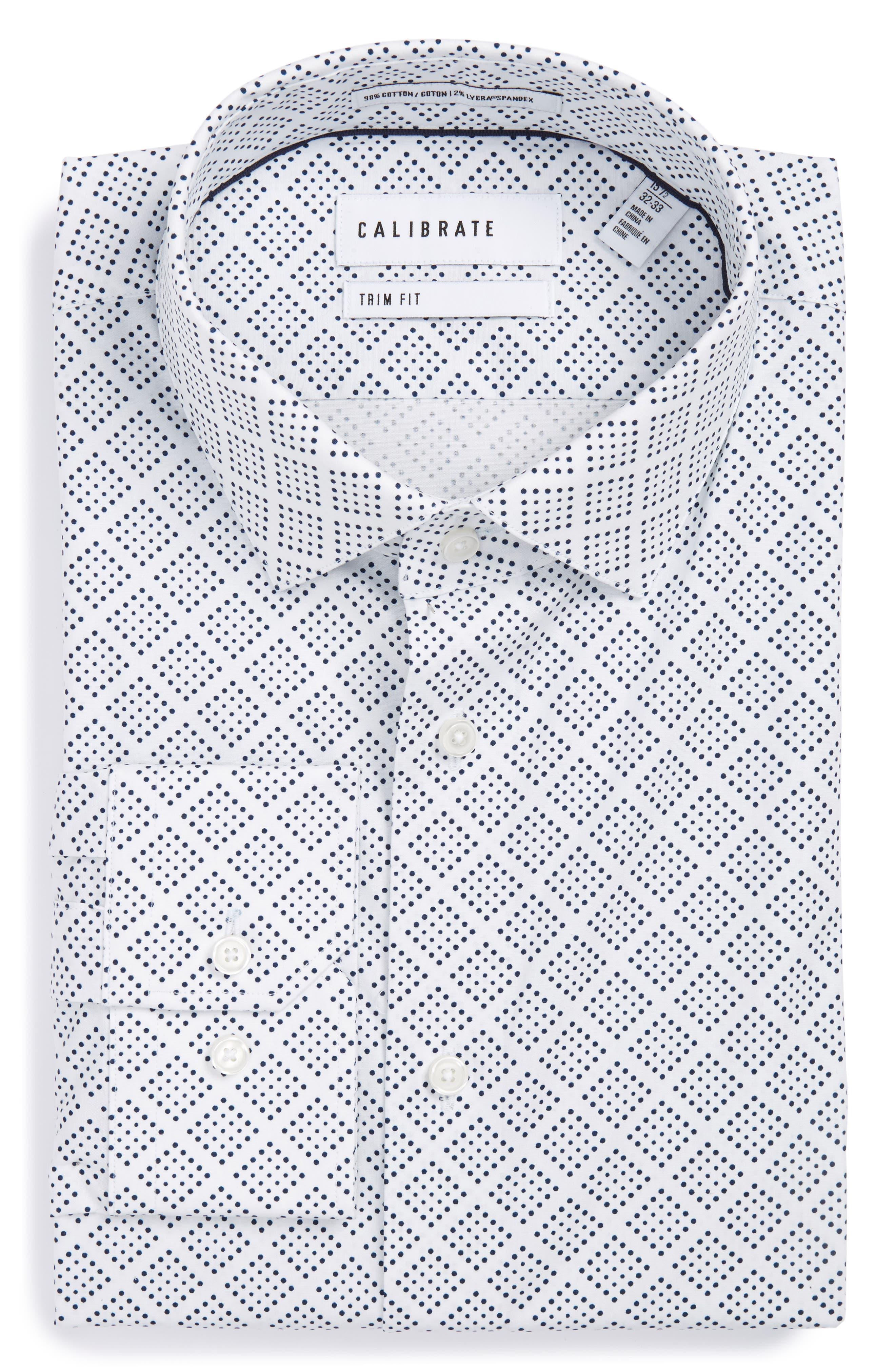 Calibrate Trim Fit Non-Iron Graphic Stretch Dress Shirt