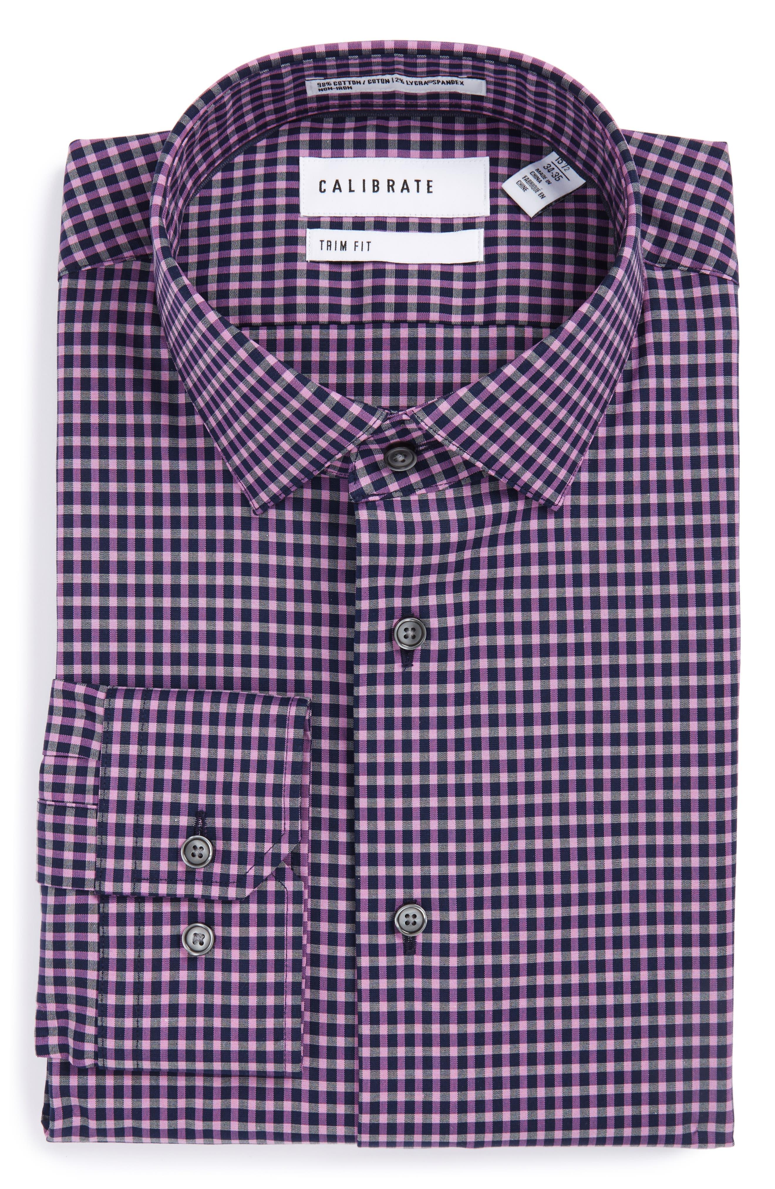 Trim Fit Non-Iron Check Stretch Dress Shirt,                         Main,                         color, Purple Iris