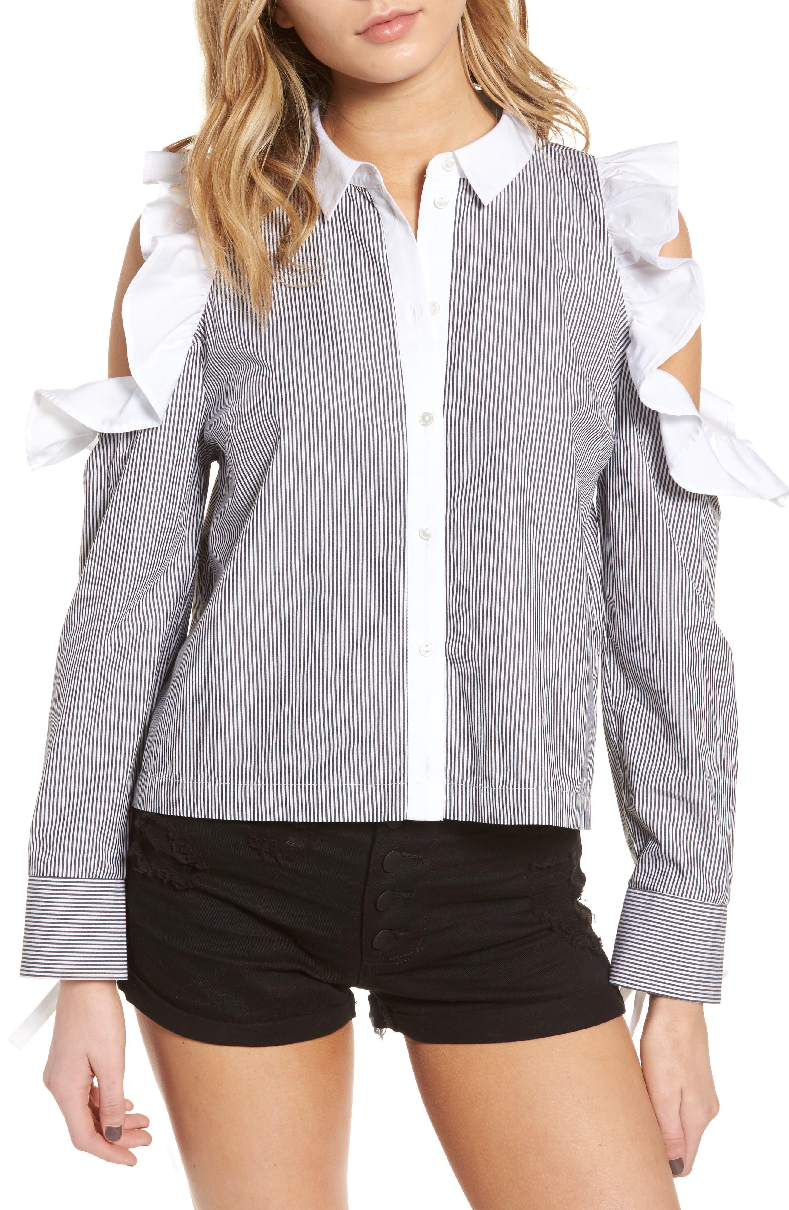 BP. Contrast Ruffle Stripe Shirt