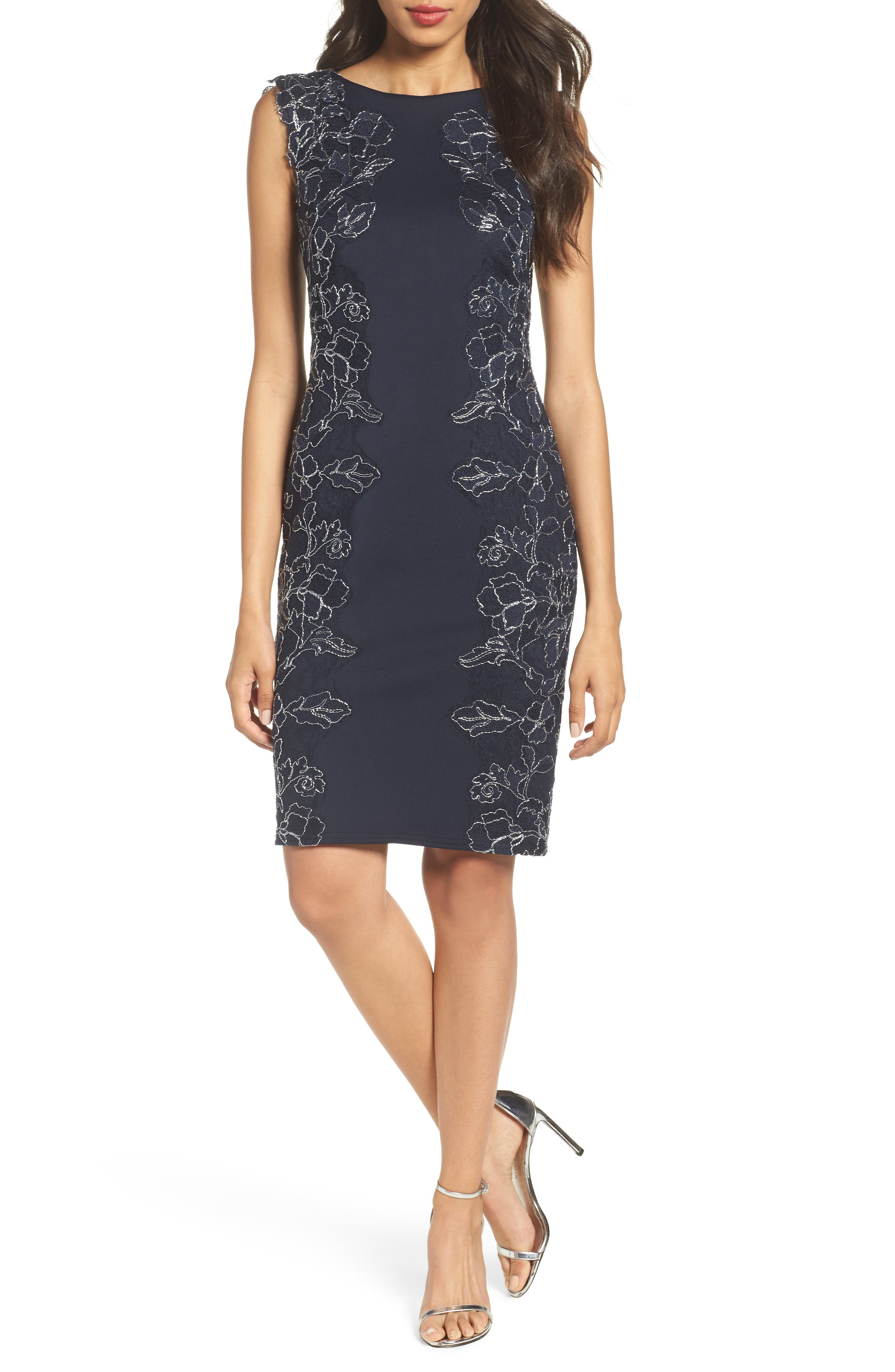 Embroidered Neoprene Sheath Dress,                         Main,                         color, Navy/ Silver