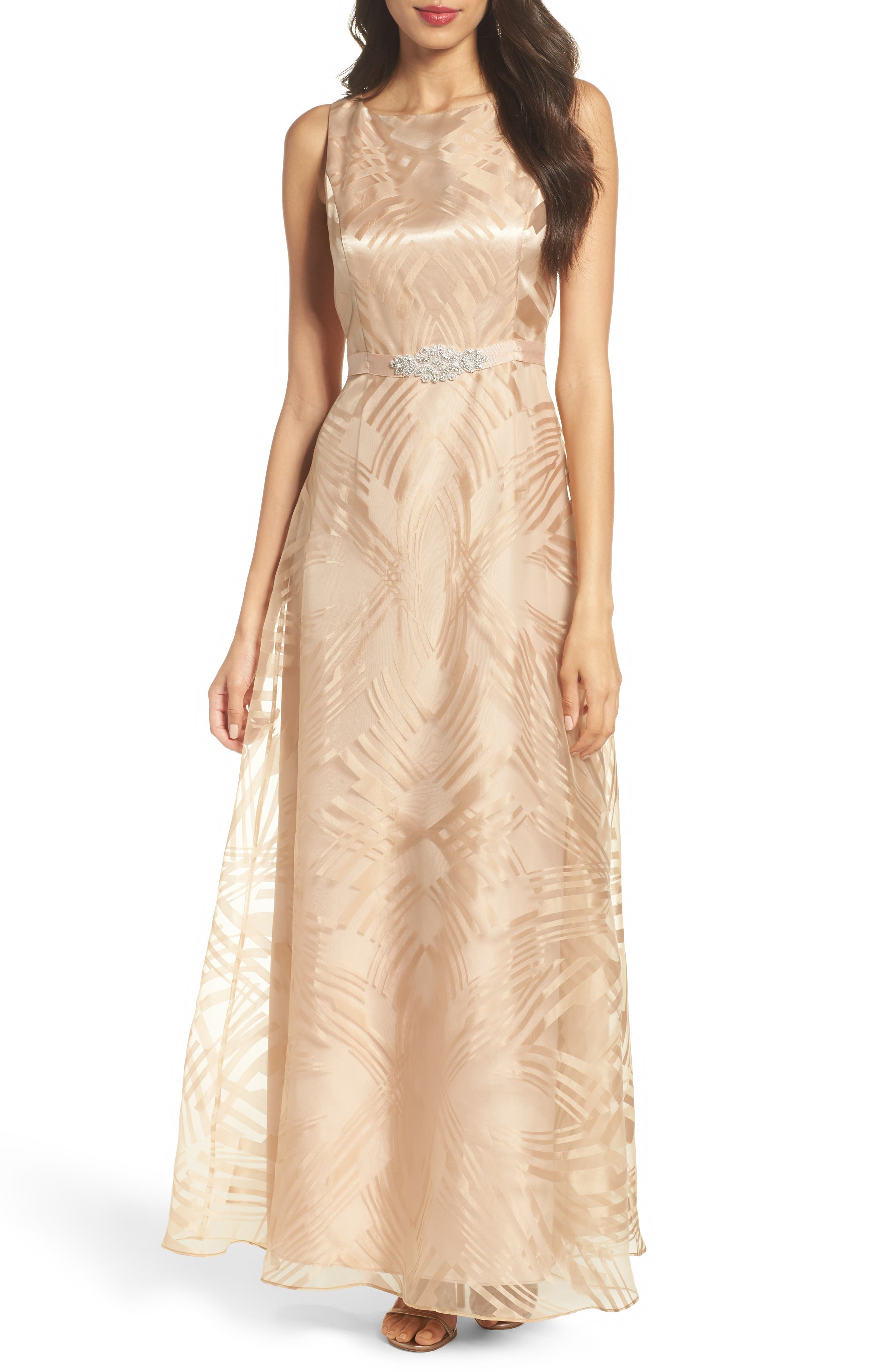 Embellished Burnout Gown,                             Main thumbnail 1, color,                             Gold