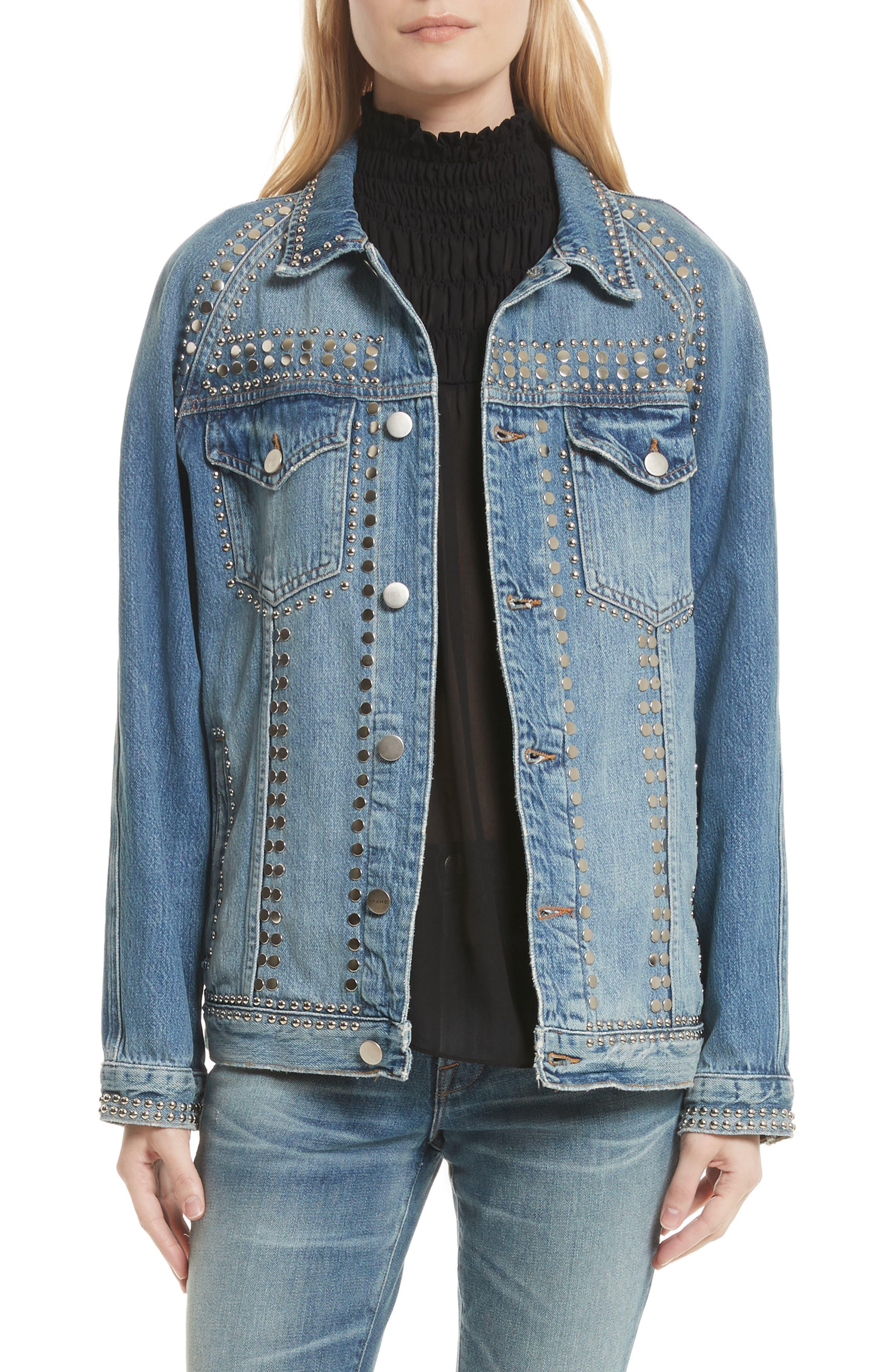 Alternate Image 1 Selected - FRAME Le Studded Denim Jacket
