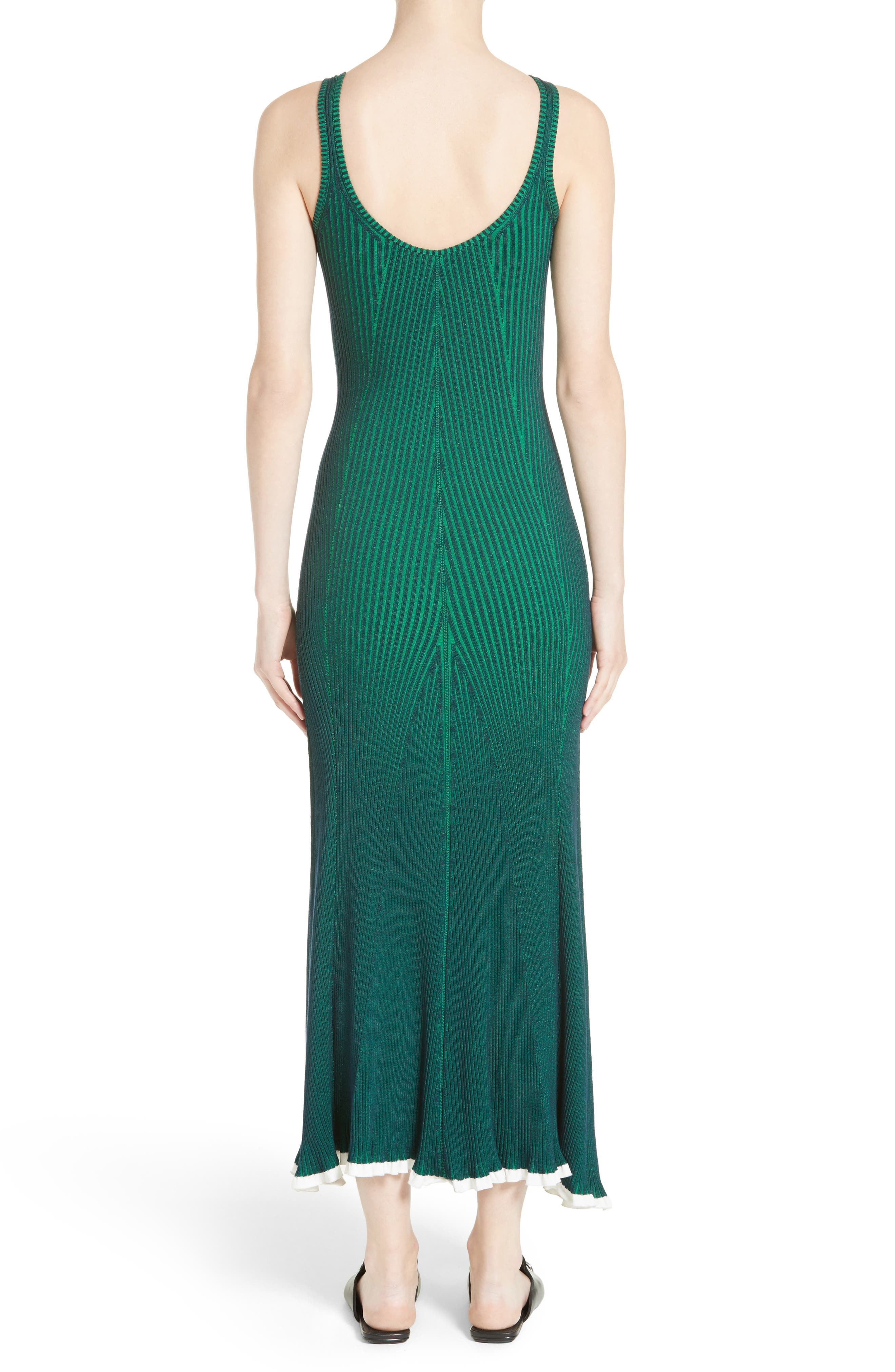 Ribbed Maxi Dress,                             Alternate thumbnail 2, color,                             Navy With Emerald Combo