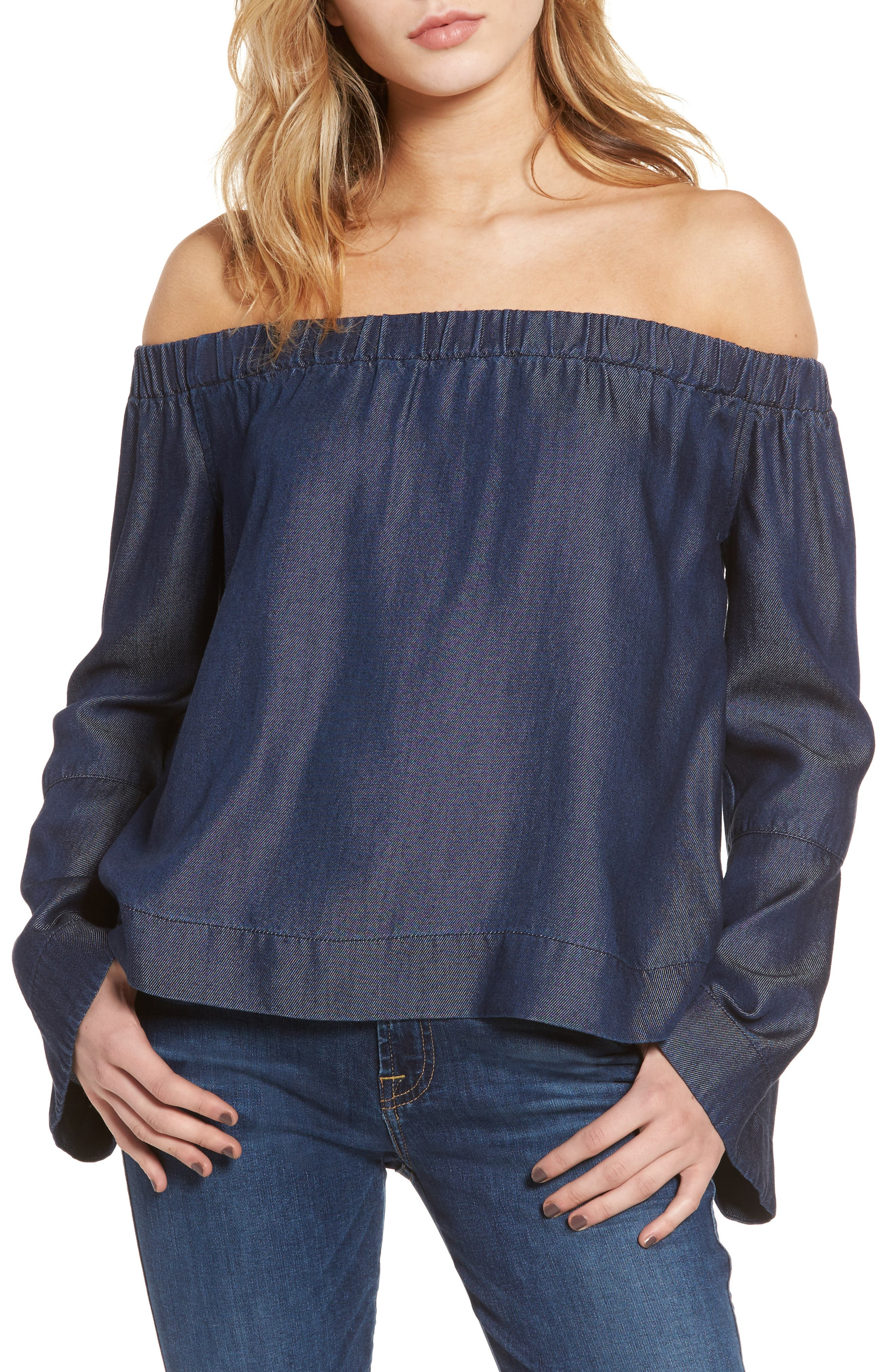 Off the Shoulder Denim Top,                         Main,                         color, Rinsed Night- Rnsd