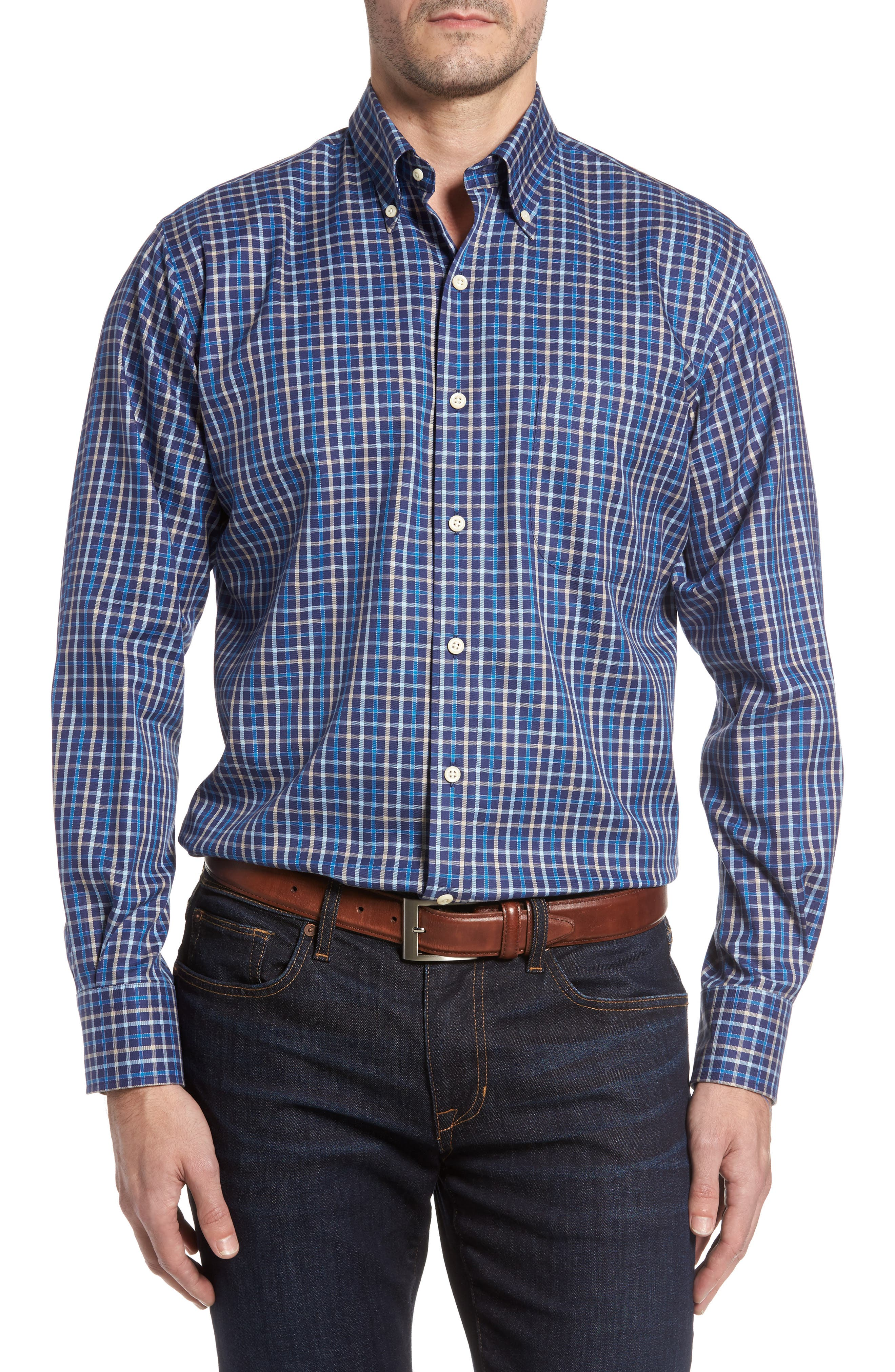 Main Image - Peter Millar Nanoluxe Pinwheel Regular Fit Check Sport Shirt
