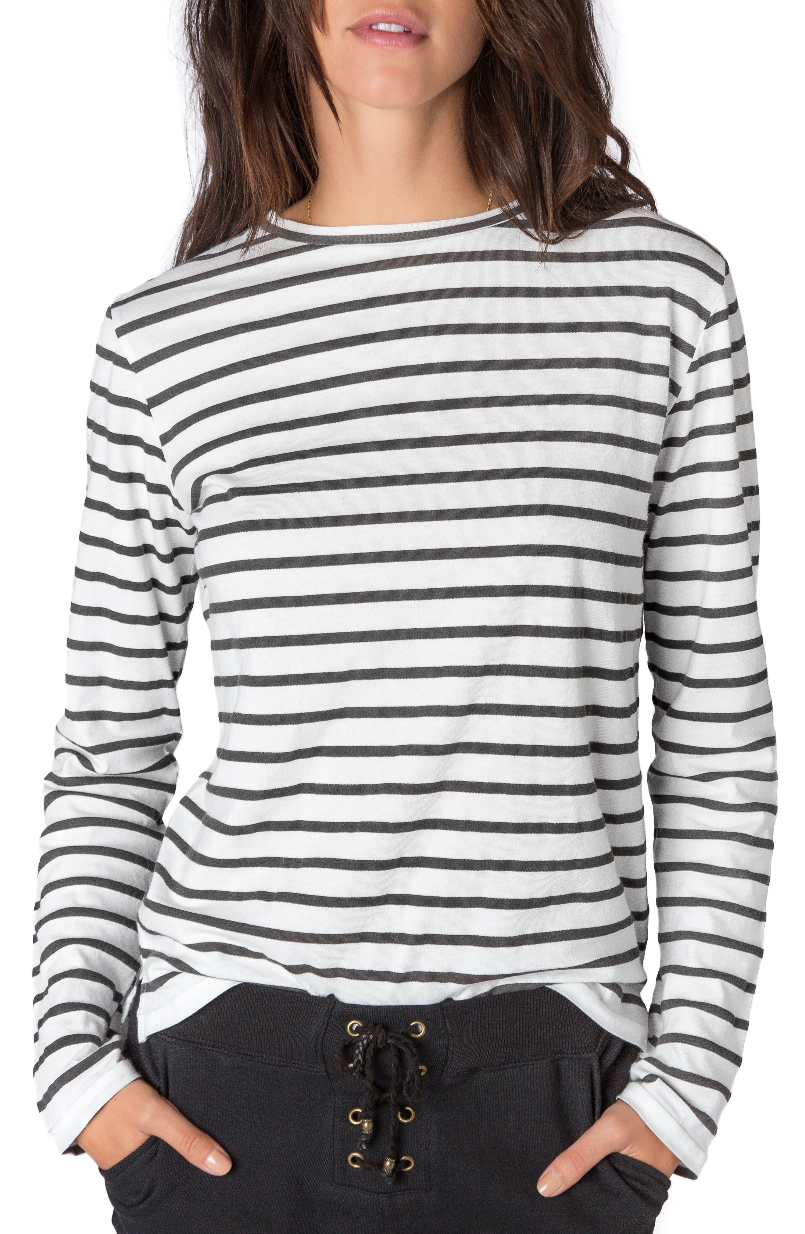 Stripe Long Sleeve Tee,                         Main,                         color, Black-White