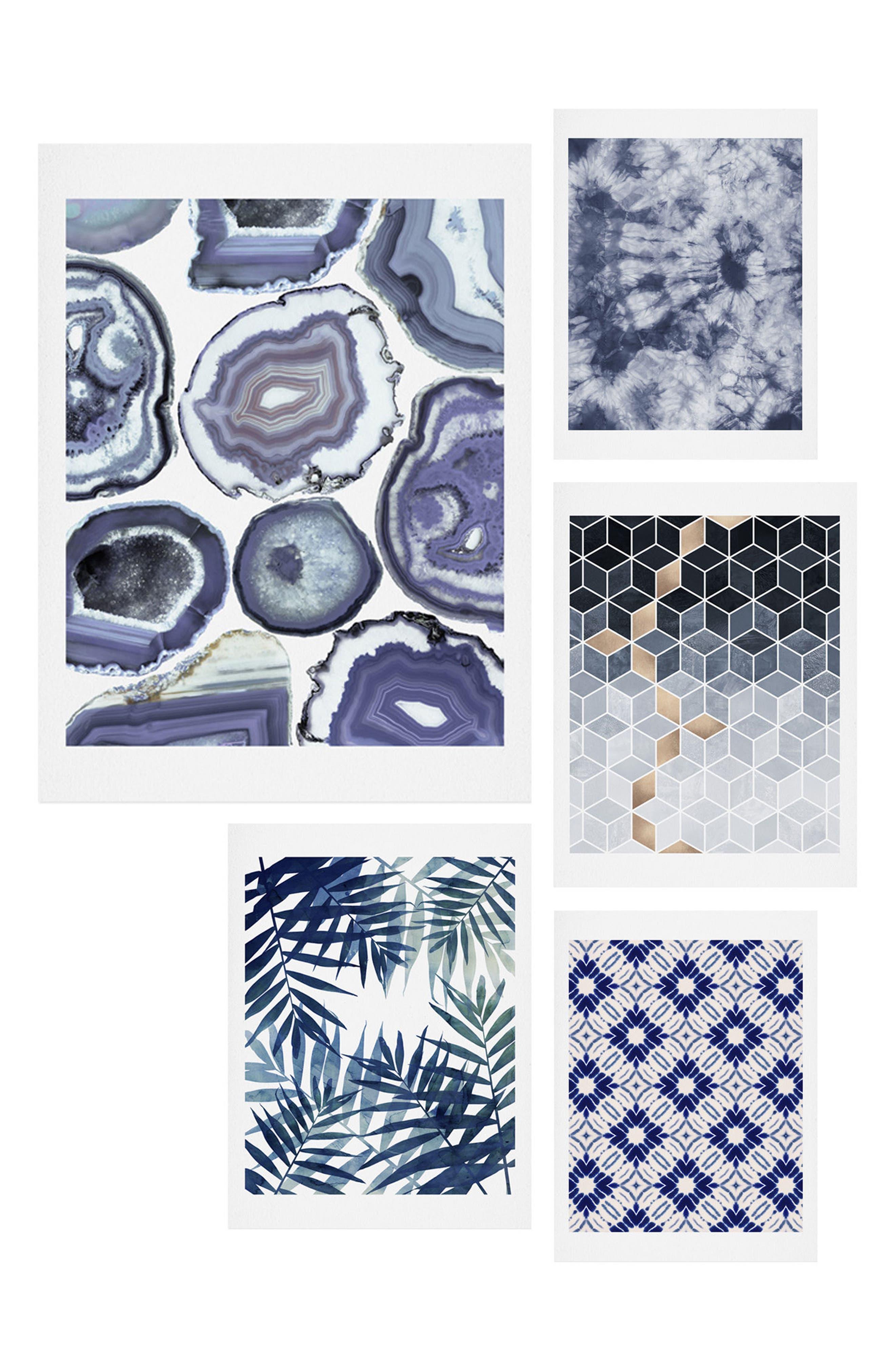 Main Image - Deny Designs Sweet Blues Five-Piece Gallery Wall Art Print Set