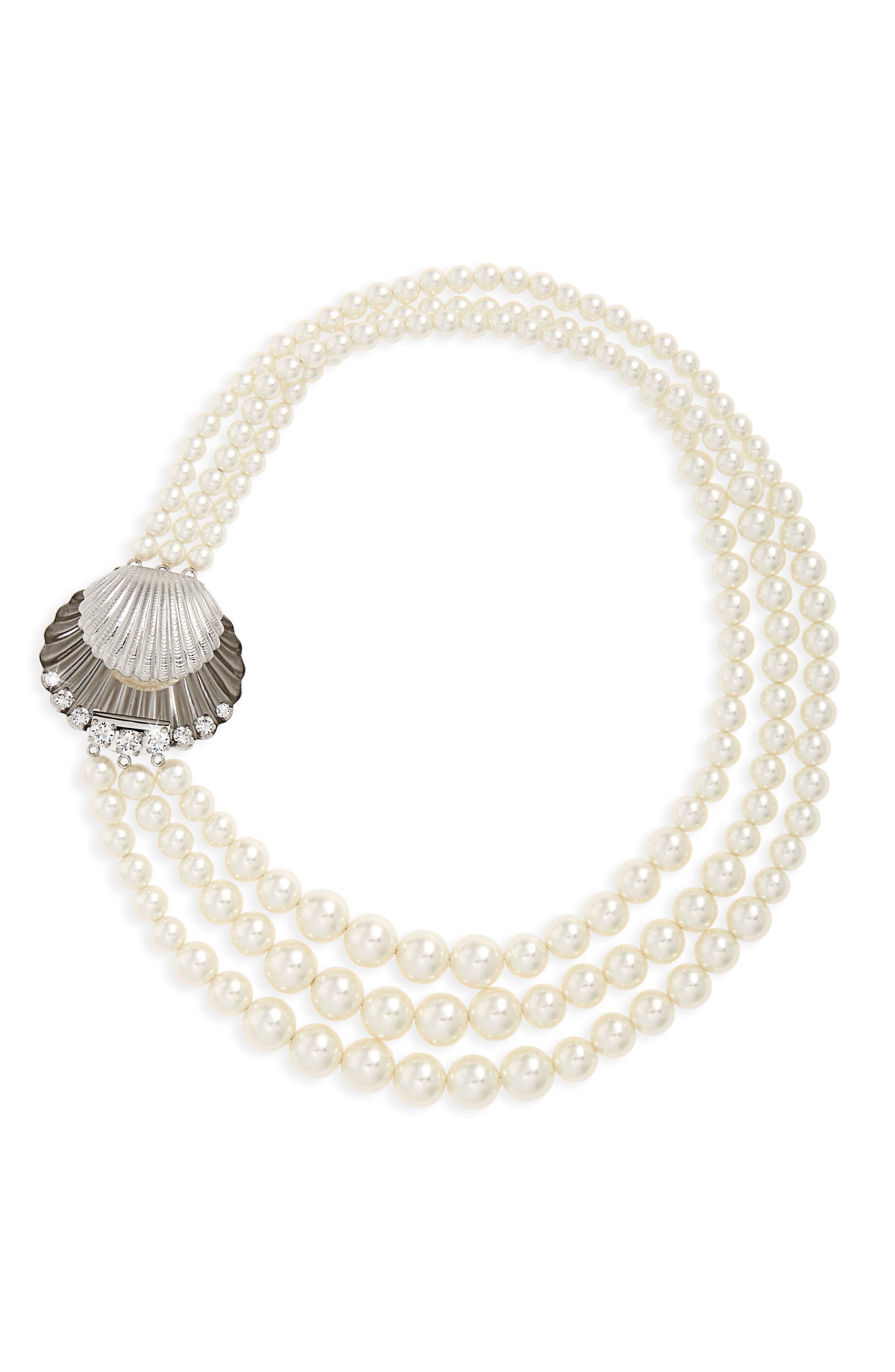 Multistrand Imitation Pearl Necklace,                         Main,                         color, Pearl