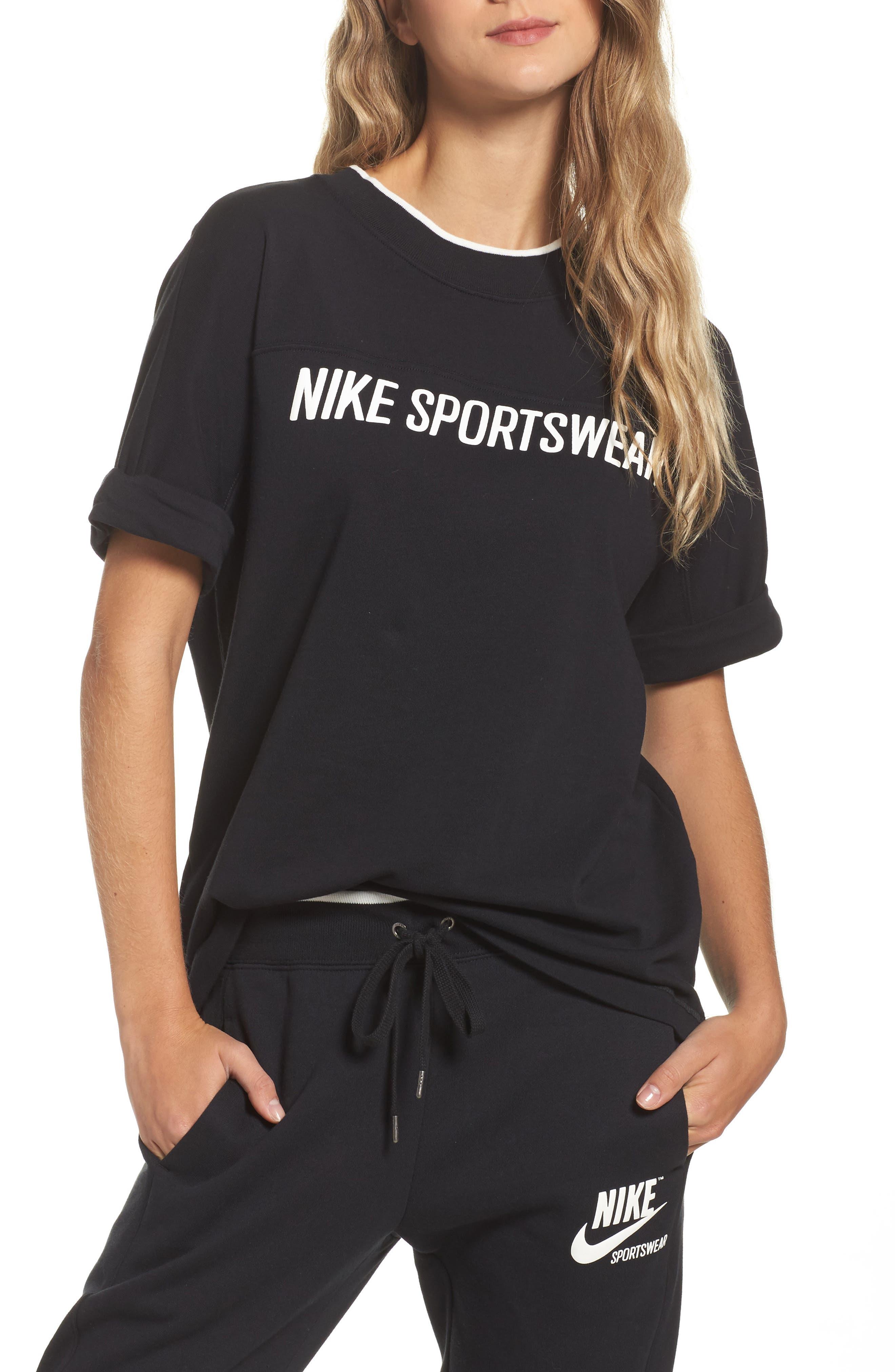 Sportswear Archive Tee,                             Main thumbnail 1, color,                             Black/ Black/ Sail