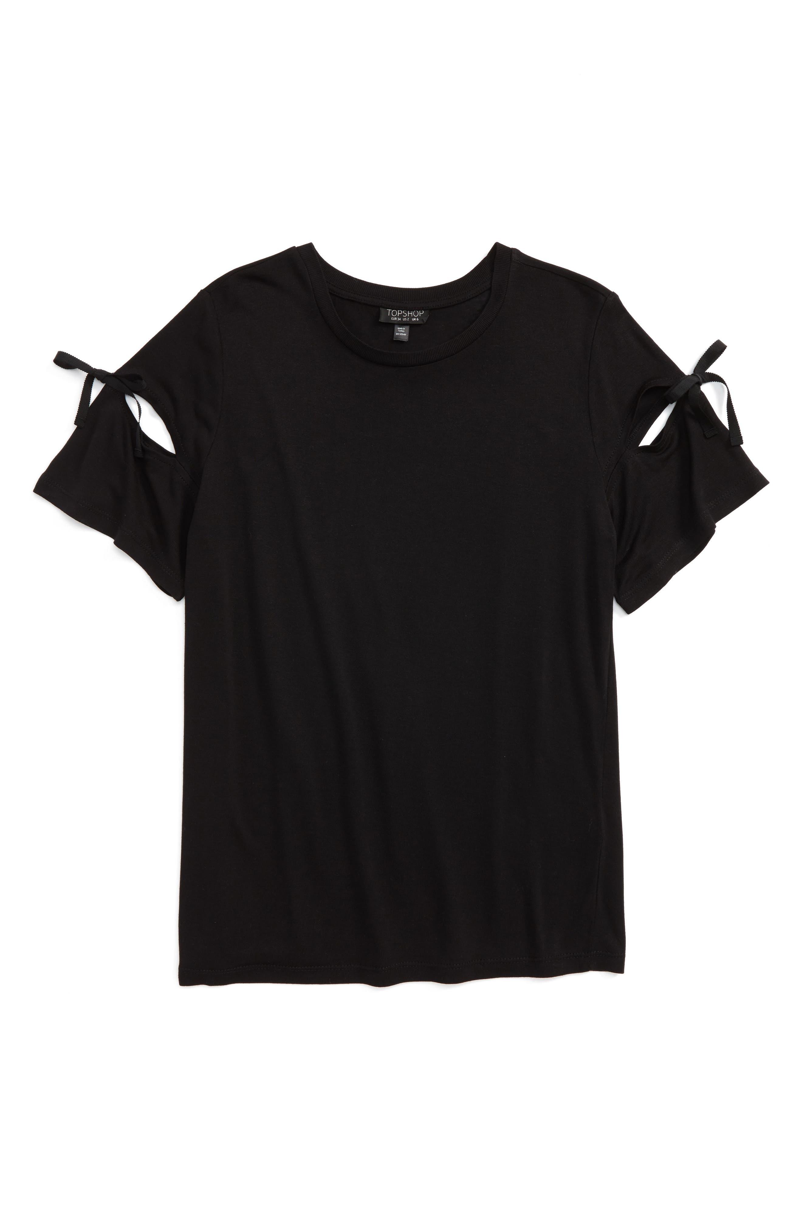 Ribbon Sleeve Tee,                             Alternate thumbnail 4, color,                             Black