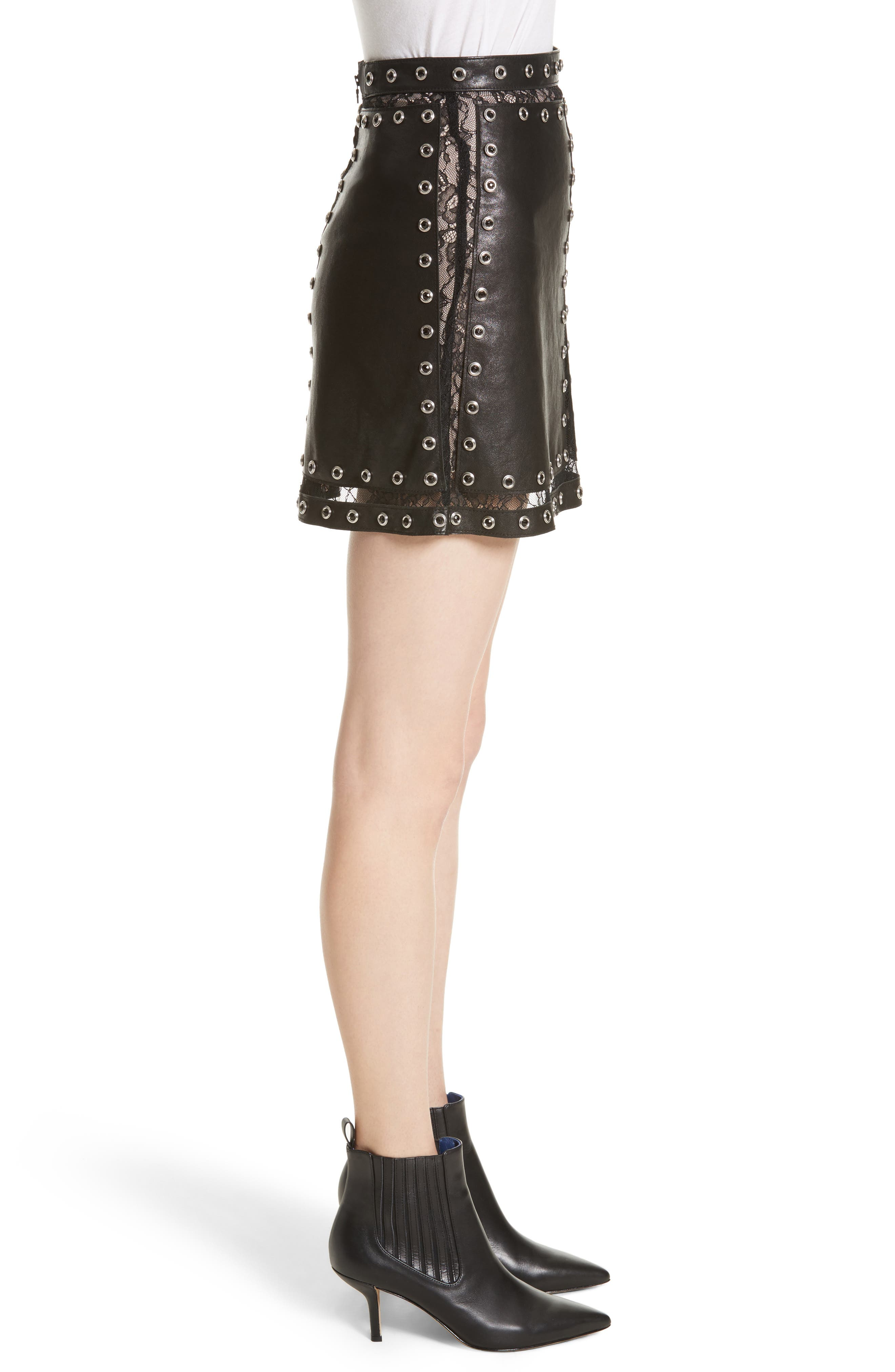 Riley Studded Leather Mini Skirt,                             Alternate thumbnail 3, color,                             Black