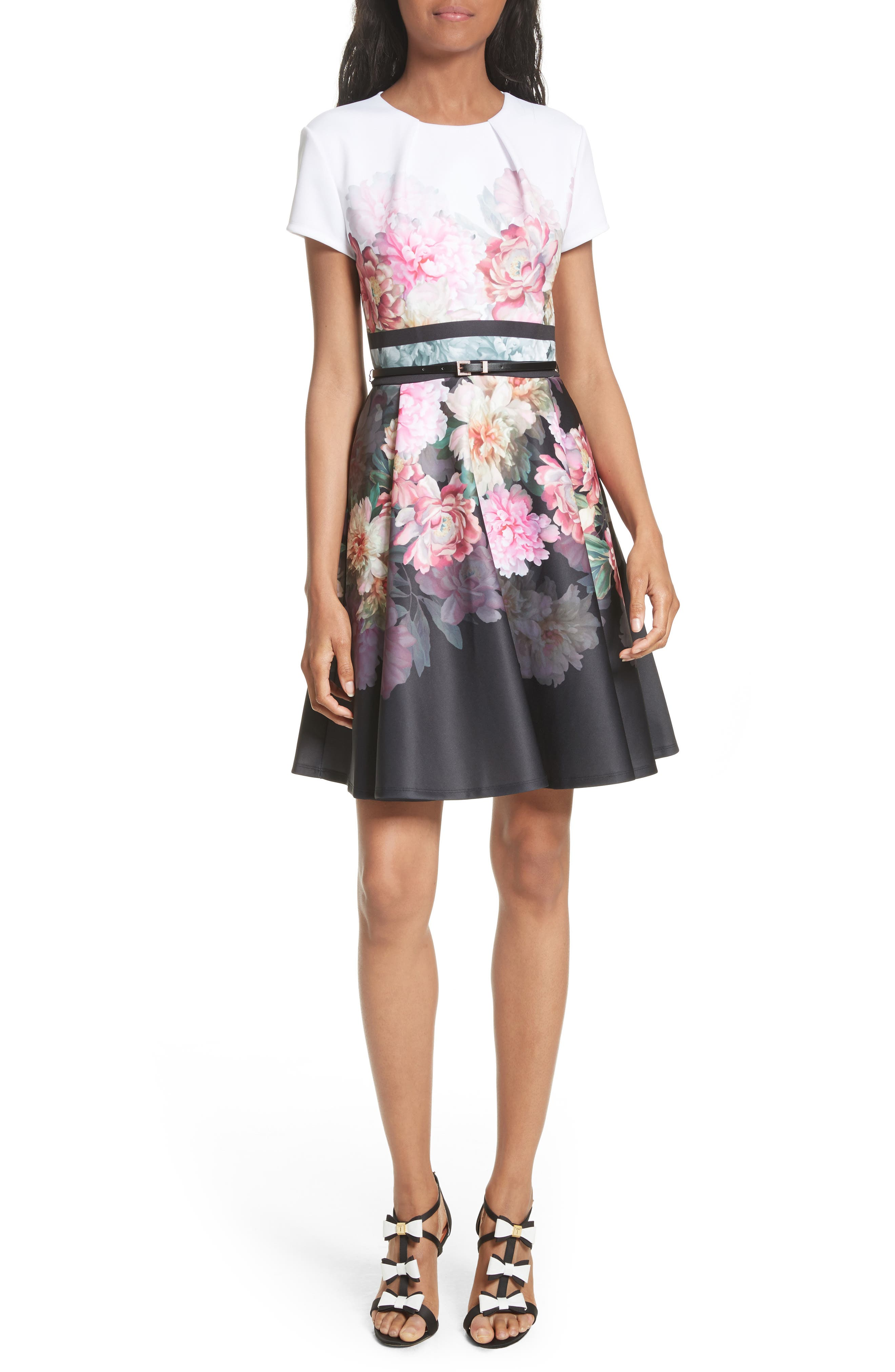 Valerey Painted Posie Belted Skater Dress,                         Main,                         color, Baby Pink