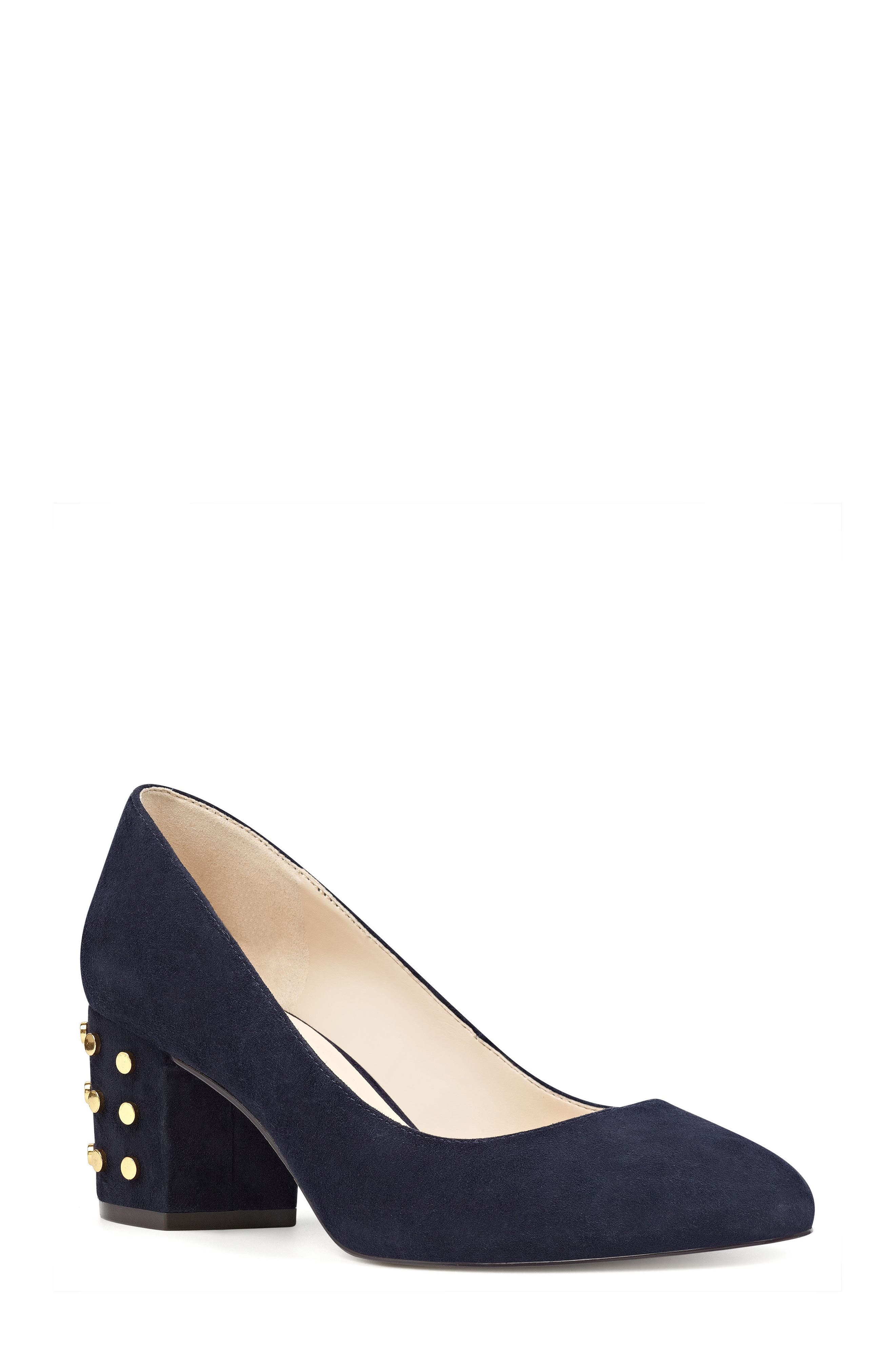 NINE WEST Cerys Studded Block Heel Pump
