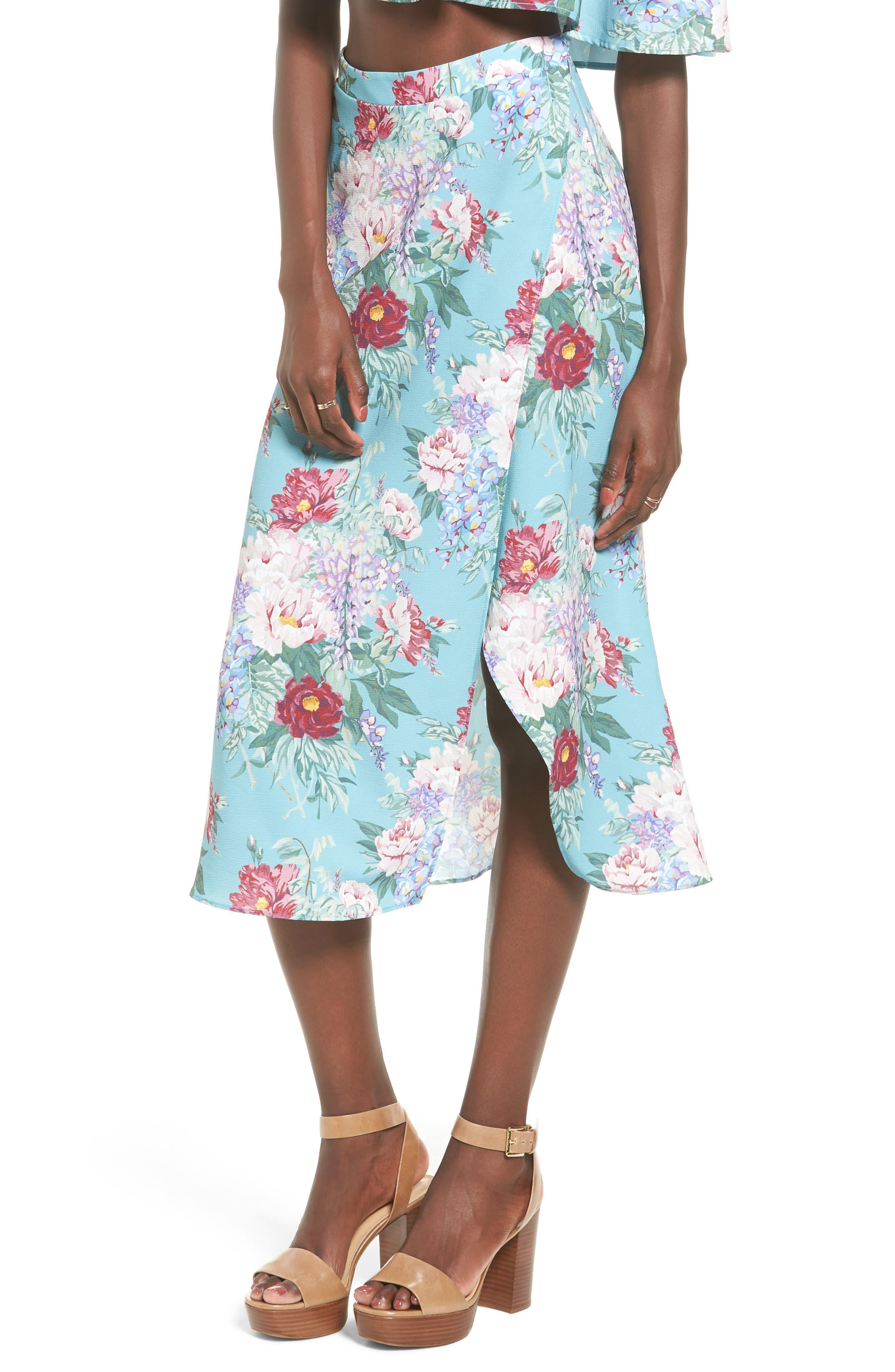 Flirt Midi Skirt,                             Main thumbnail 1, color,                             Darling Dolls Crinkle