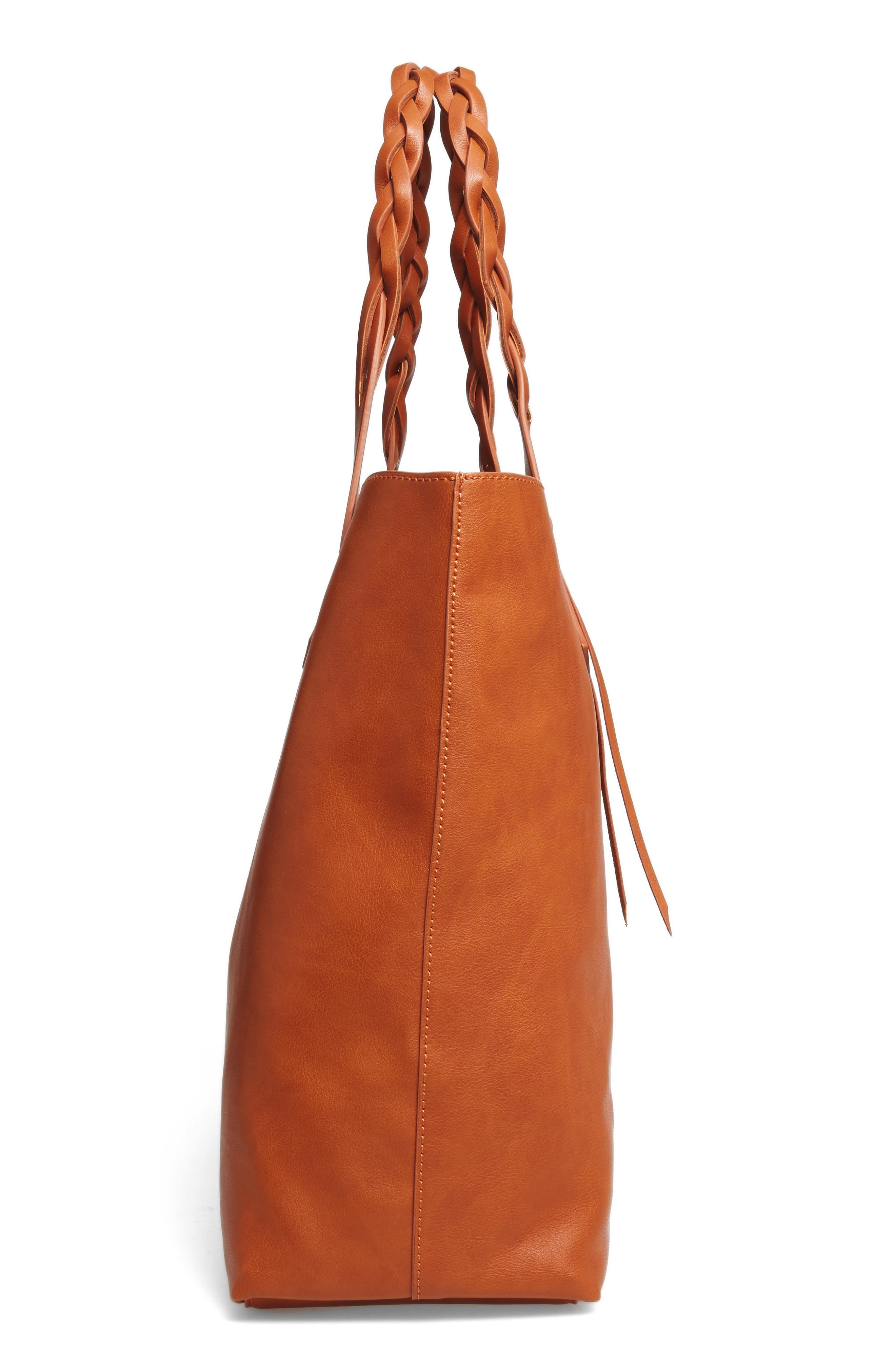 Amal Faux Leather Tote,                             Alternate thumbnail 4, color,                             Cognac