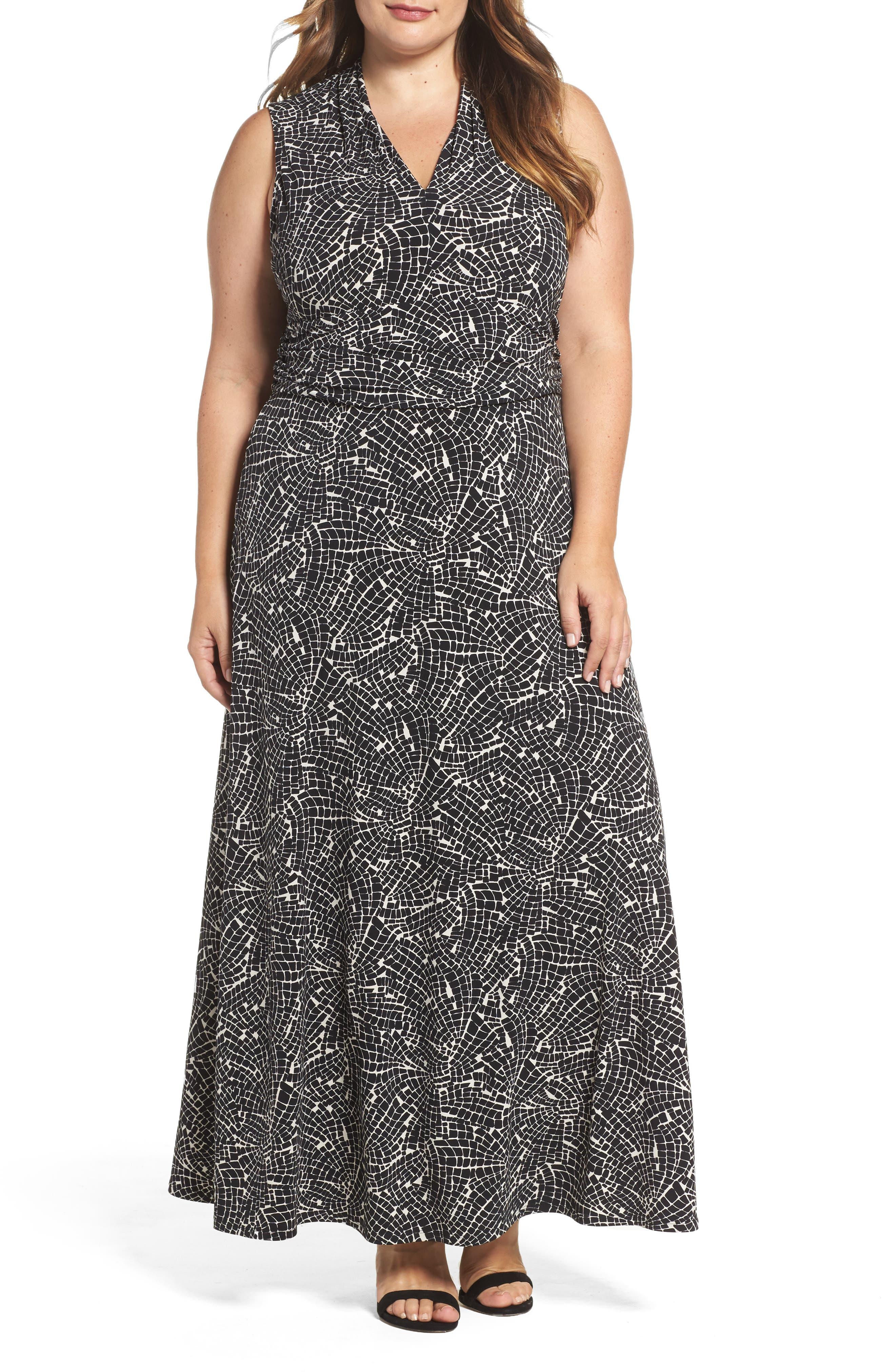 Modern Mosaic Maxi Dress,                         Main,                         color, Rich Black